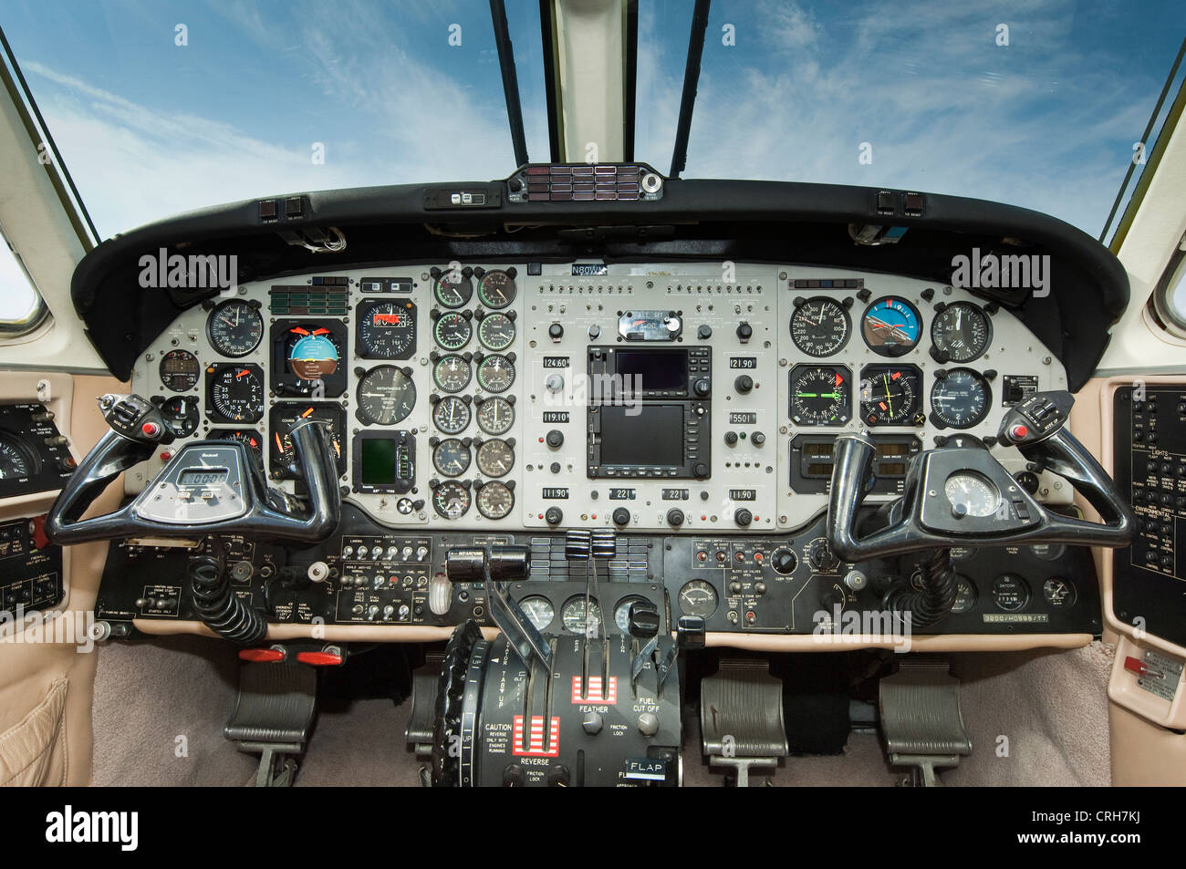 King Air Flugzeug cockpit Stockbild