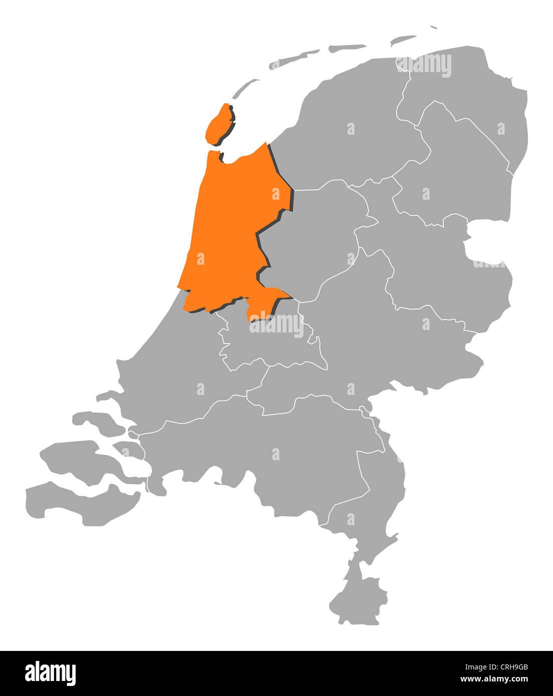 Niederlande Karte Umriss.Politische Karte Von Niederlande Mit Den Mehrere Staaten In Nord