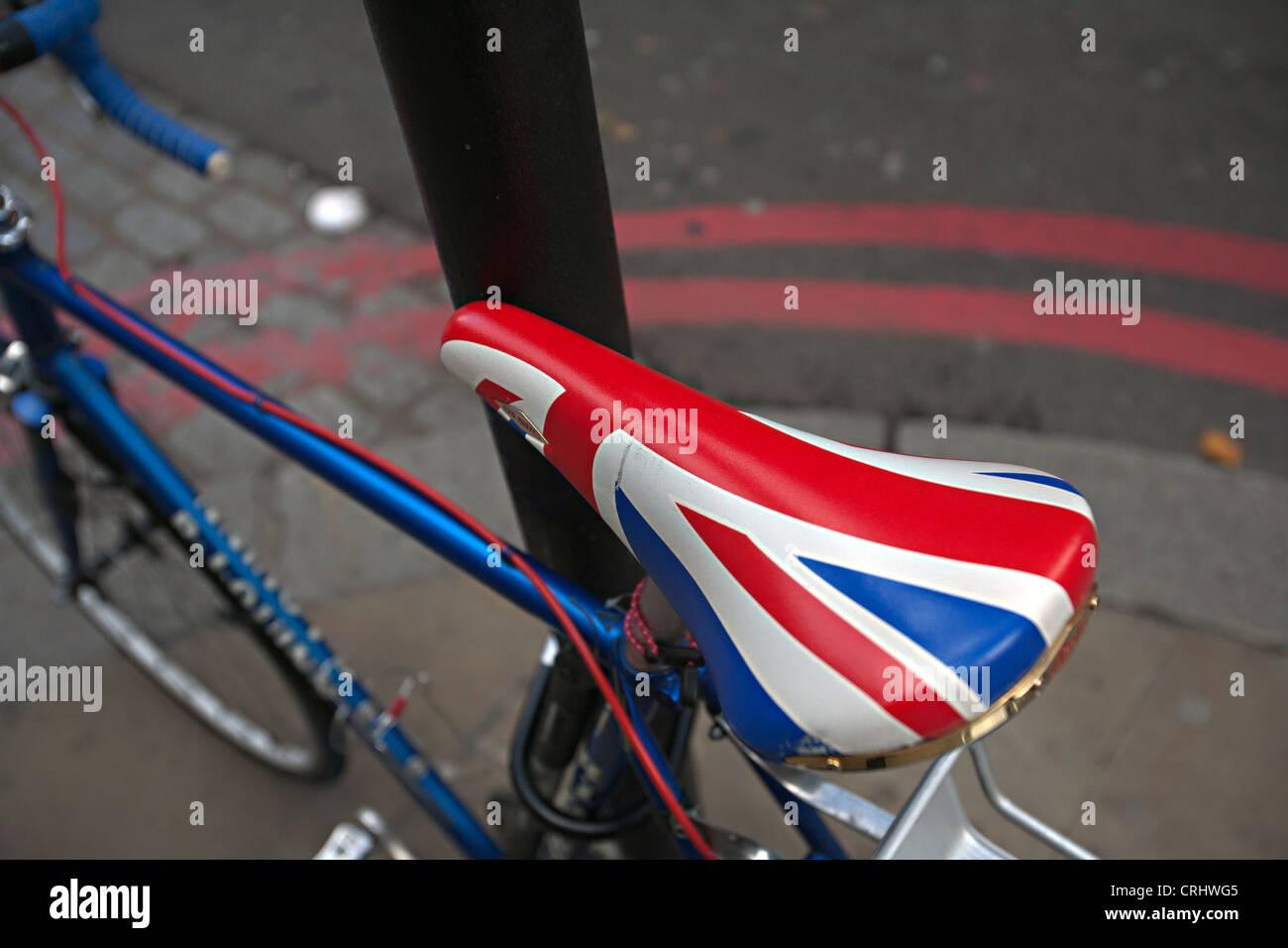 Union Jack Sattel London Fahrrad Stockbild