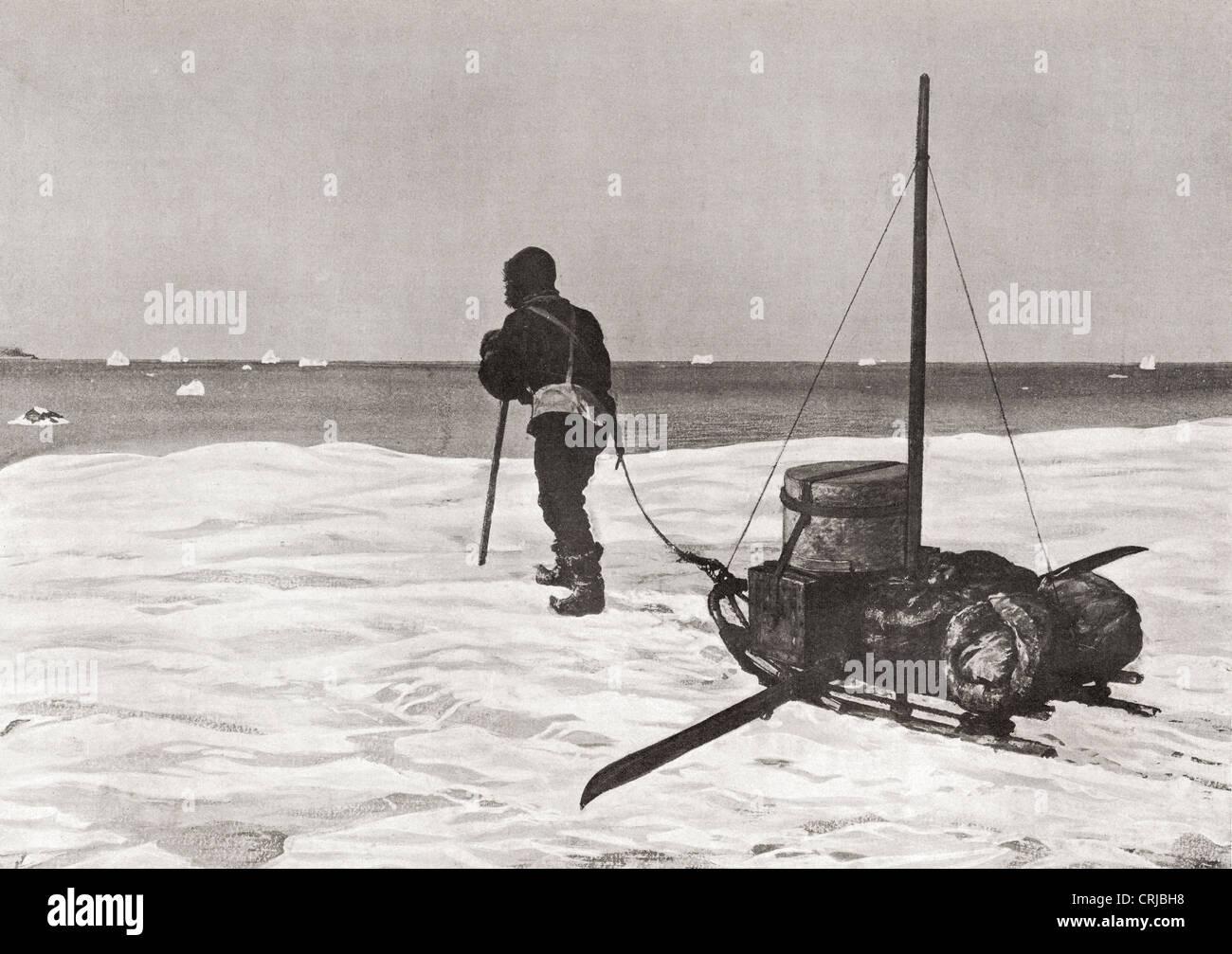Dr. Douglas Mawson zurück zu spät für seine Schiff Aurora SY während seiner Australasian Antarctic Expedition, 1911 Stockfoto