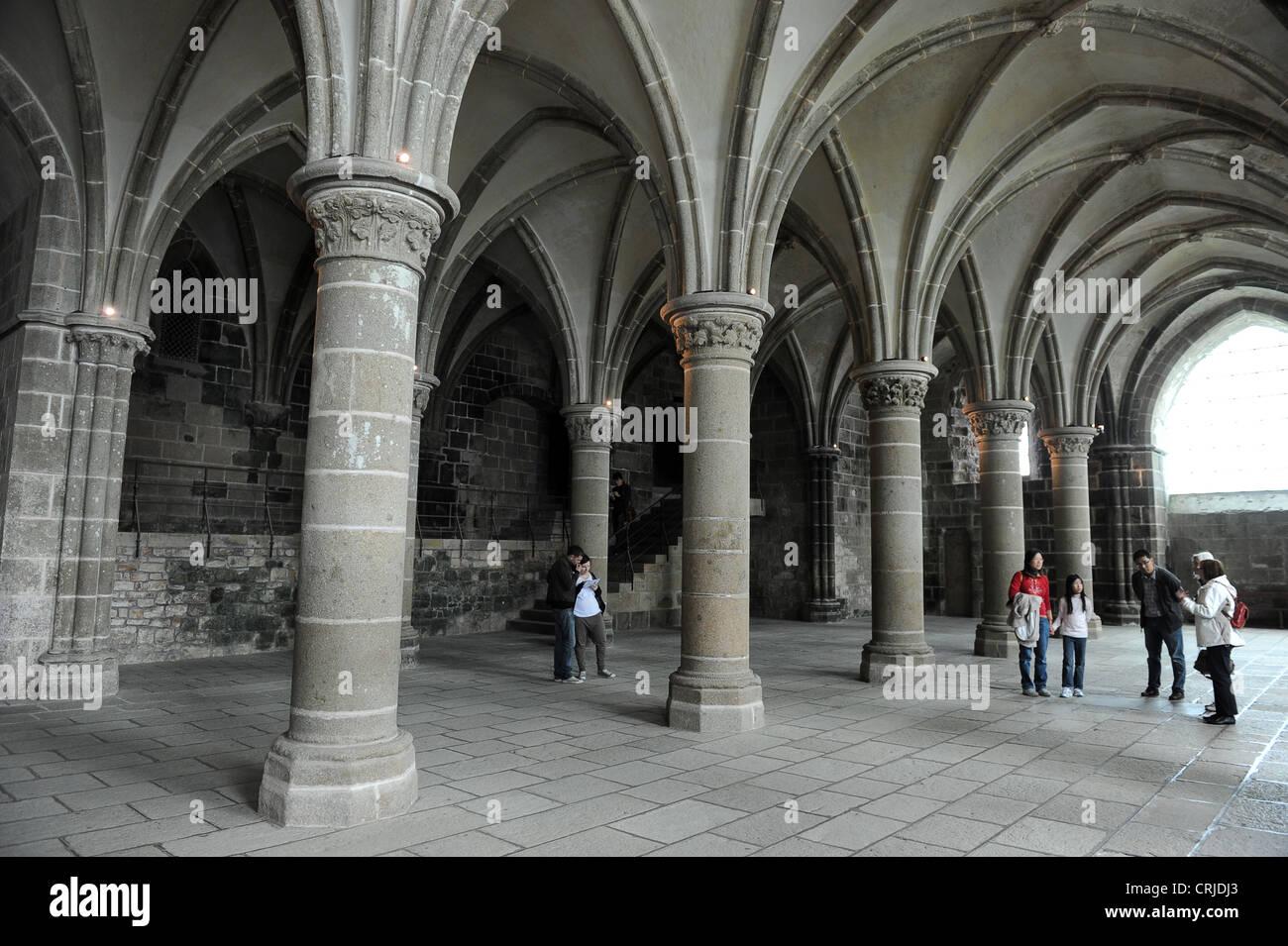 Le Mont Saint-Michel Interieur der Rittersaal Stockfoto, Bild ...