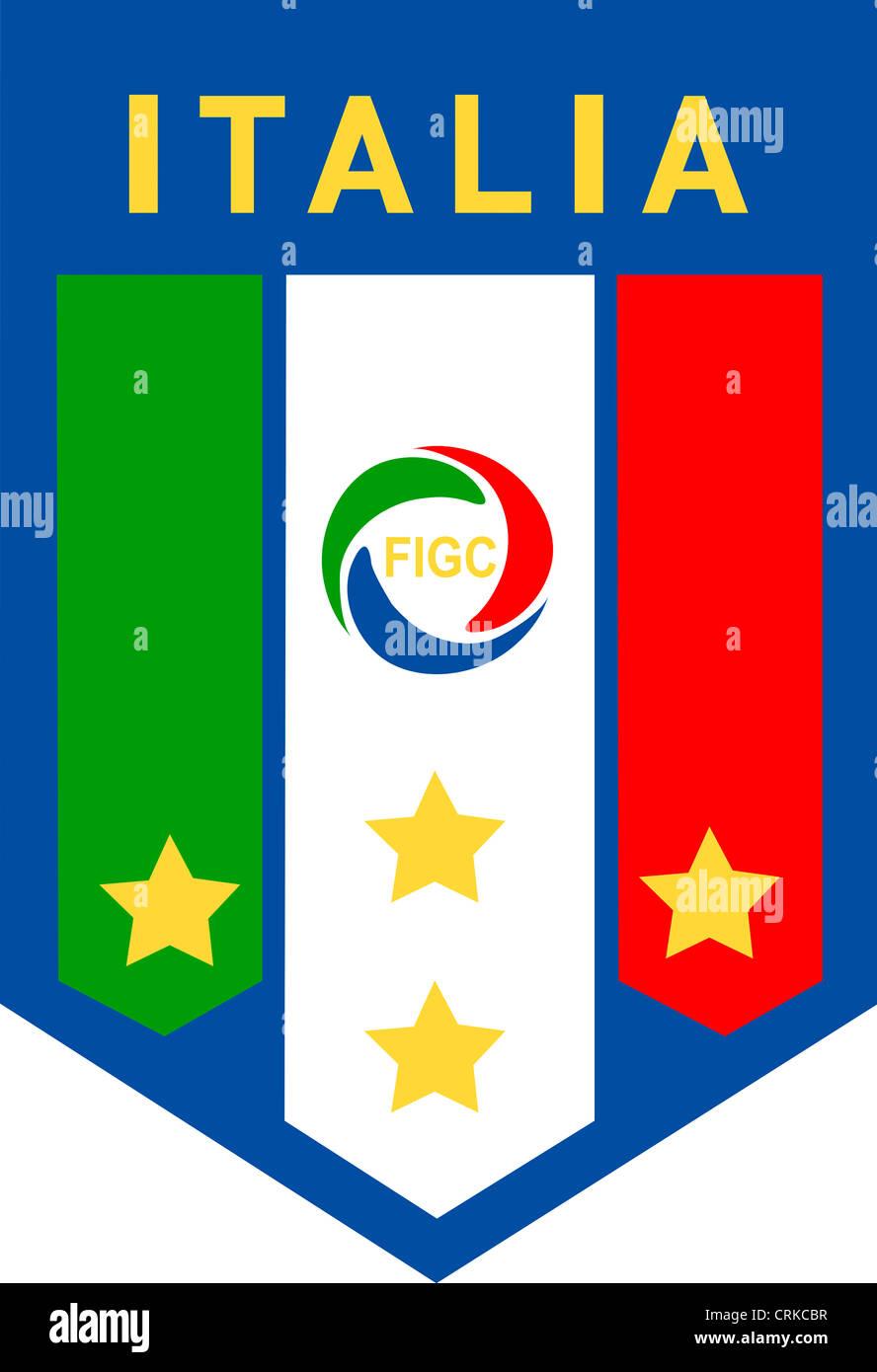 Logo der italienischen Fußball Verein Federazione Italiana Giuoco Calcio FIGC und der Nationalmannschaft. Stockbild
