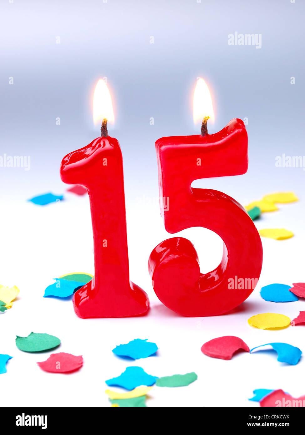 Geburtstag Kerzen Zeigen Nr 15 Stockbild