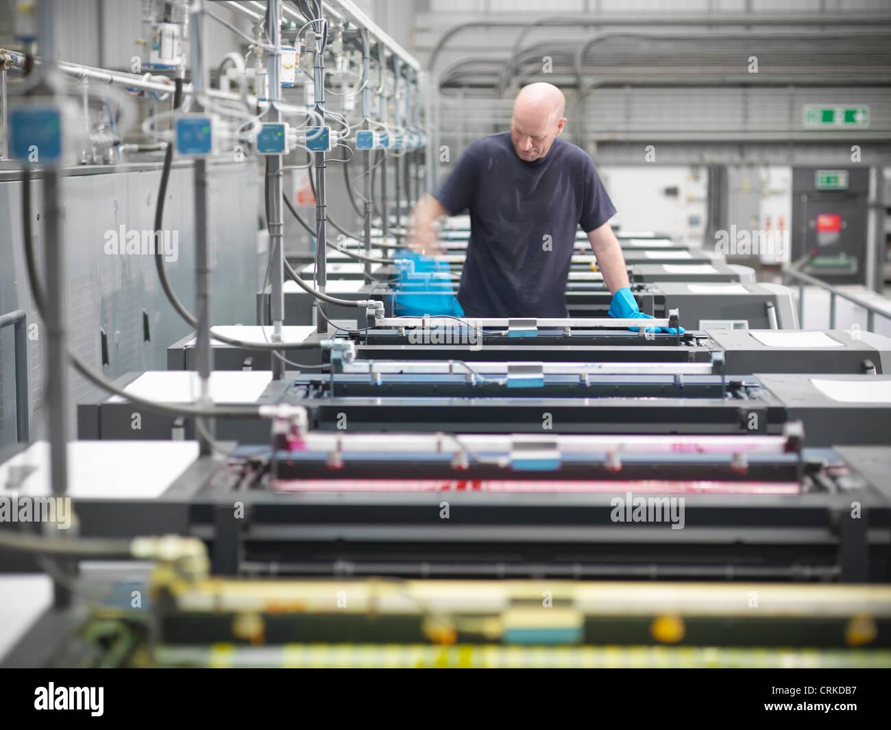 Drucker Farbwerk der Druckmaschine im shop Stockbild