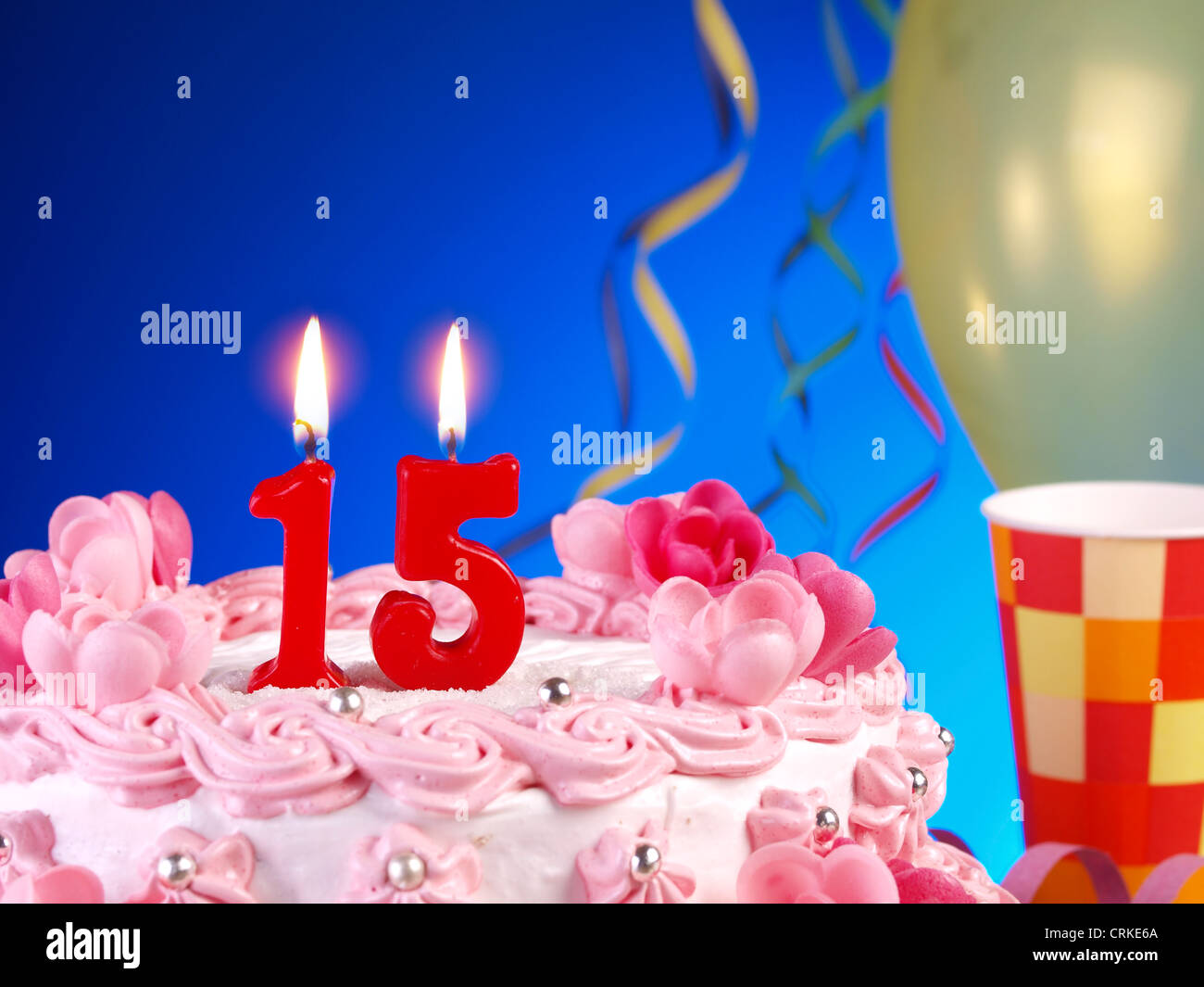 Geburtstag Kuchen Mit Kerzen Zeigen Nr 15 Stockbild