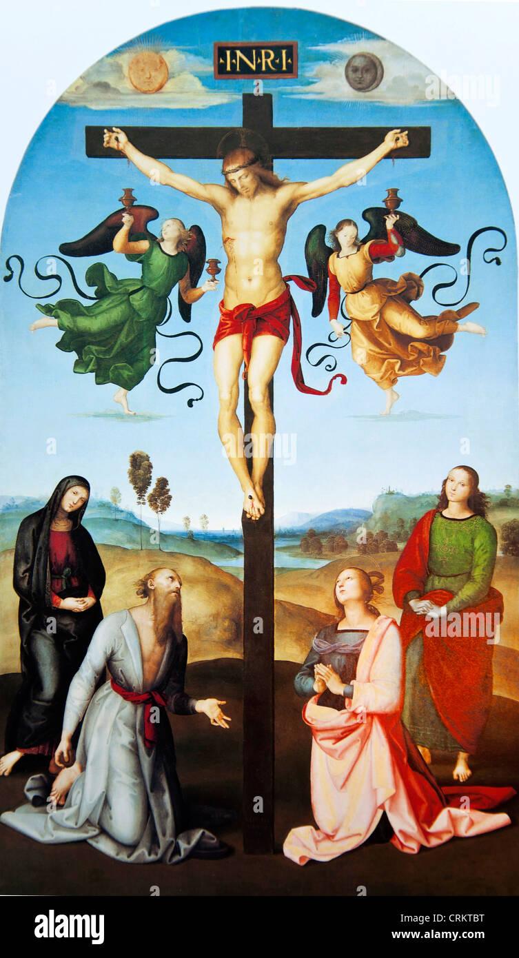 Der gekreuzigte Christus mit der Jungfrau Maria Heiligen und Engeln (der Mond Kreuzigung)-Raphael Stockbild