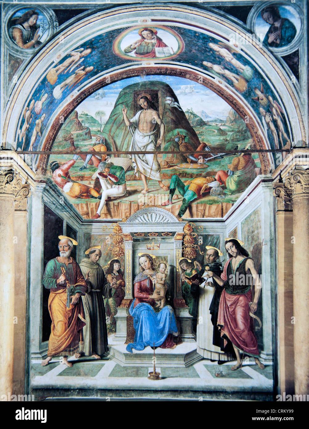 Sacra Conversazione mit der Auferstehung Christi - Raphael Stockbild
