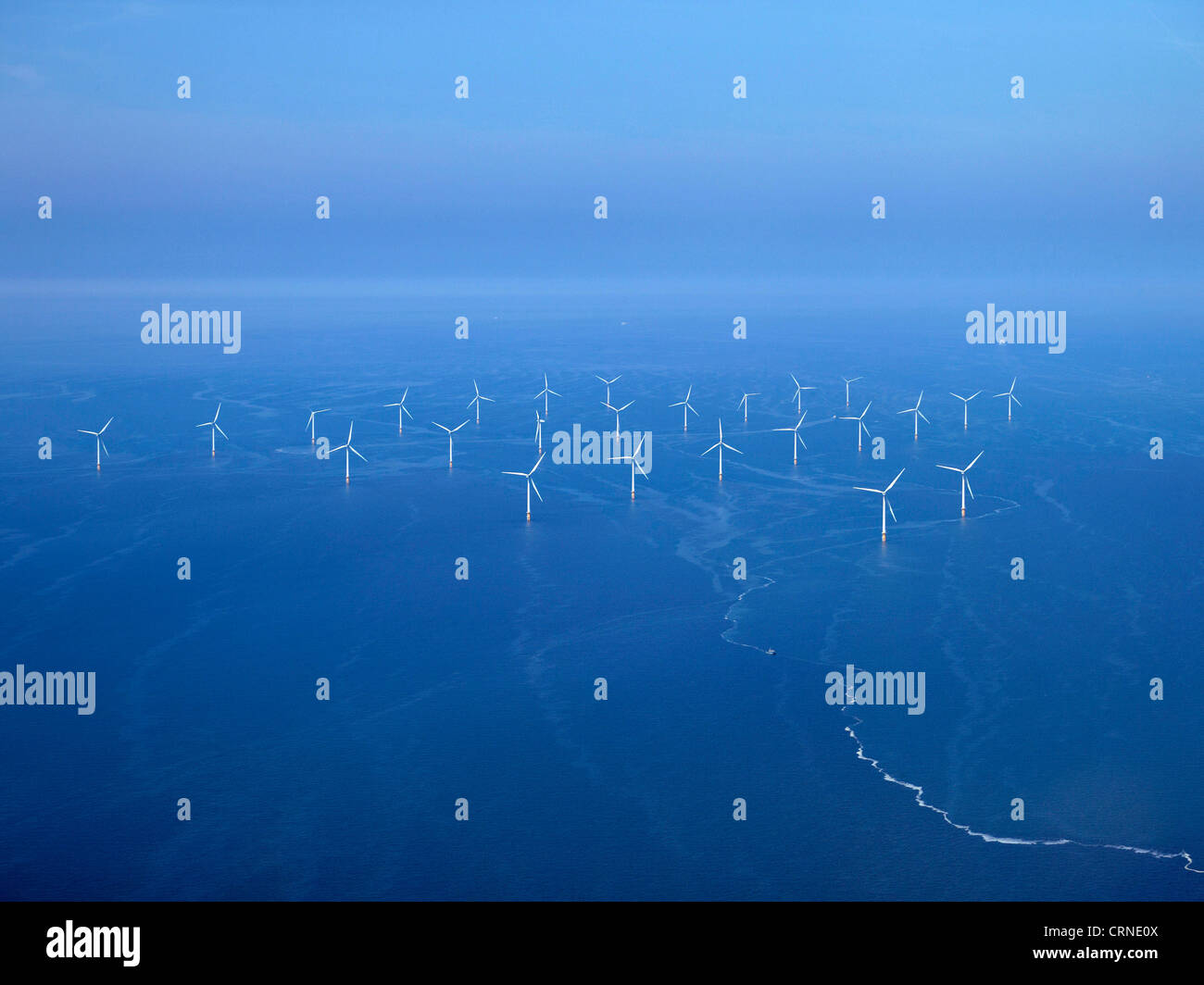 Offshore wind Farm Liverpool Bay, aus Wirral, North West England Stockbild