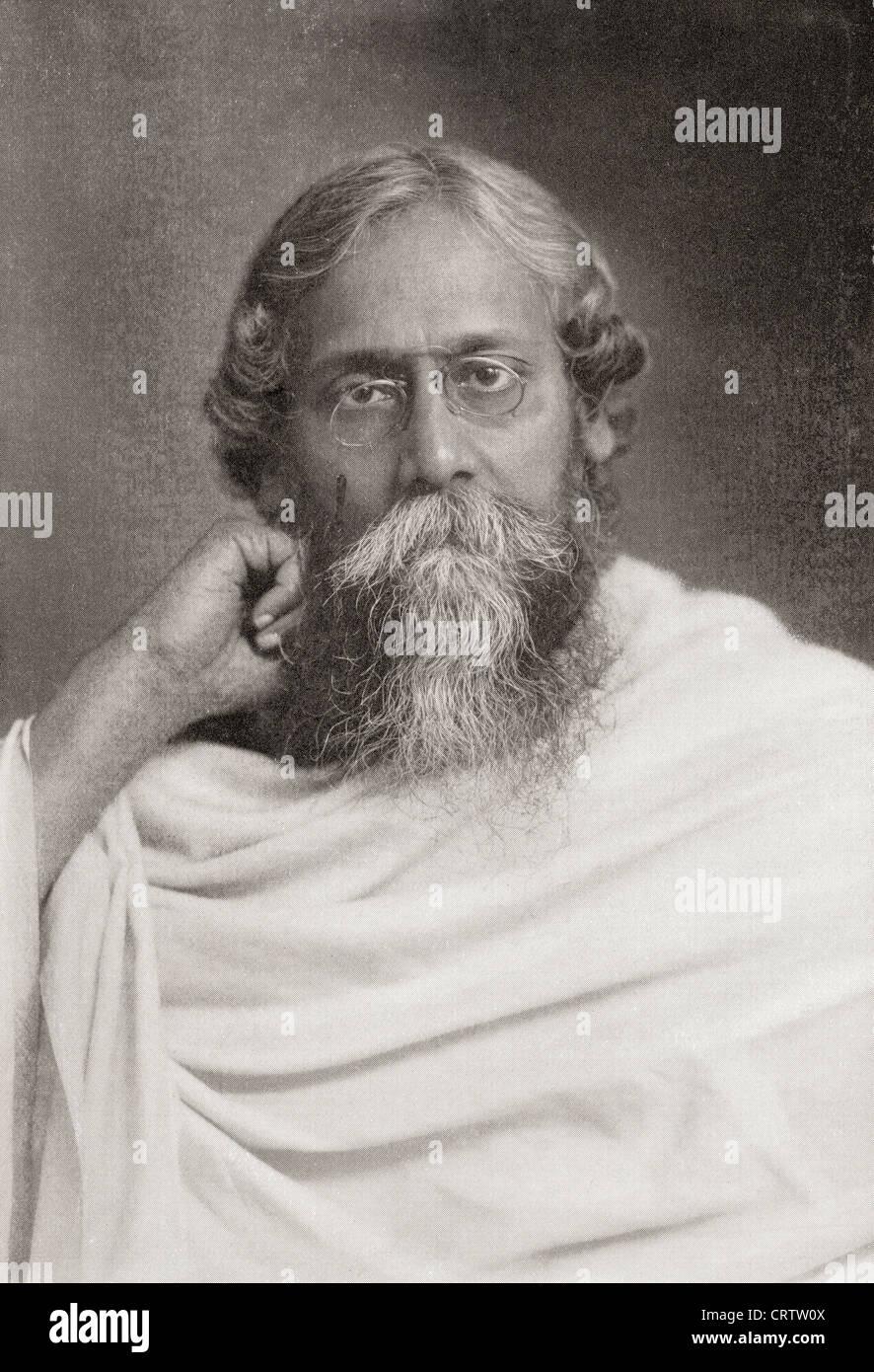 Rabindranath Tagore, 1861-1941, Beinamen Gurudev. Bengali Universalgelehrter. Nobelpreisträger für Literatur. Stockbild