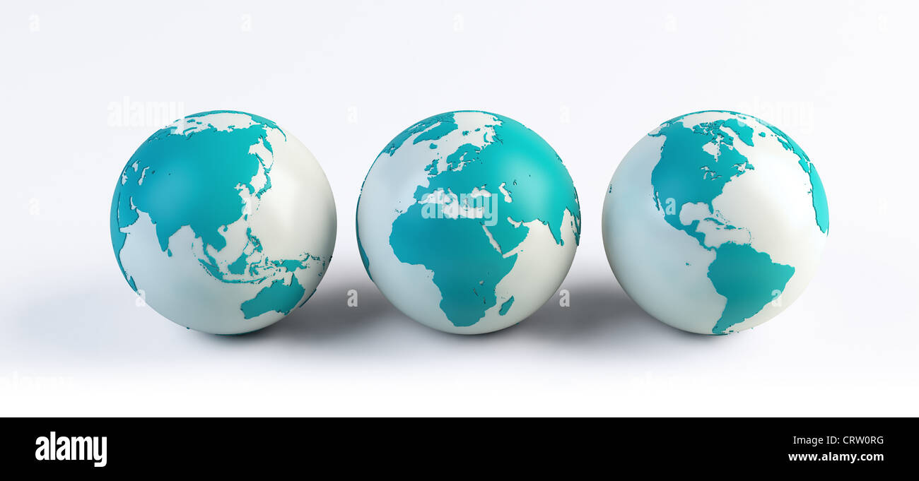 3 Computer gerendert Globen Stockbild