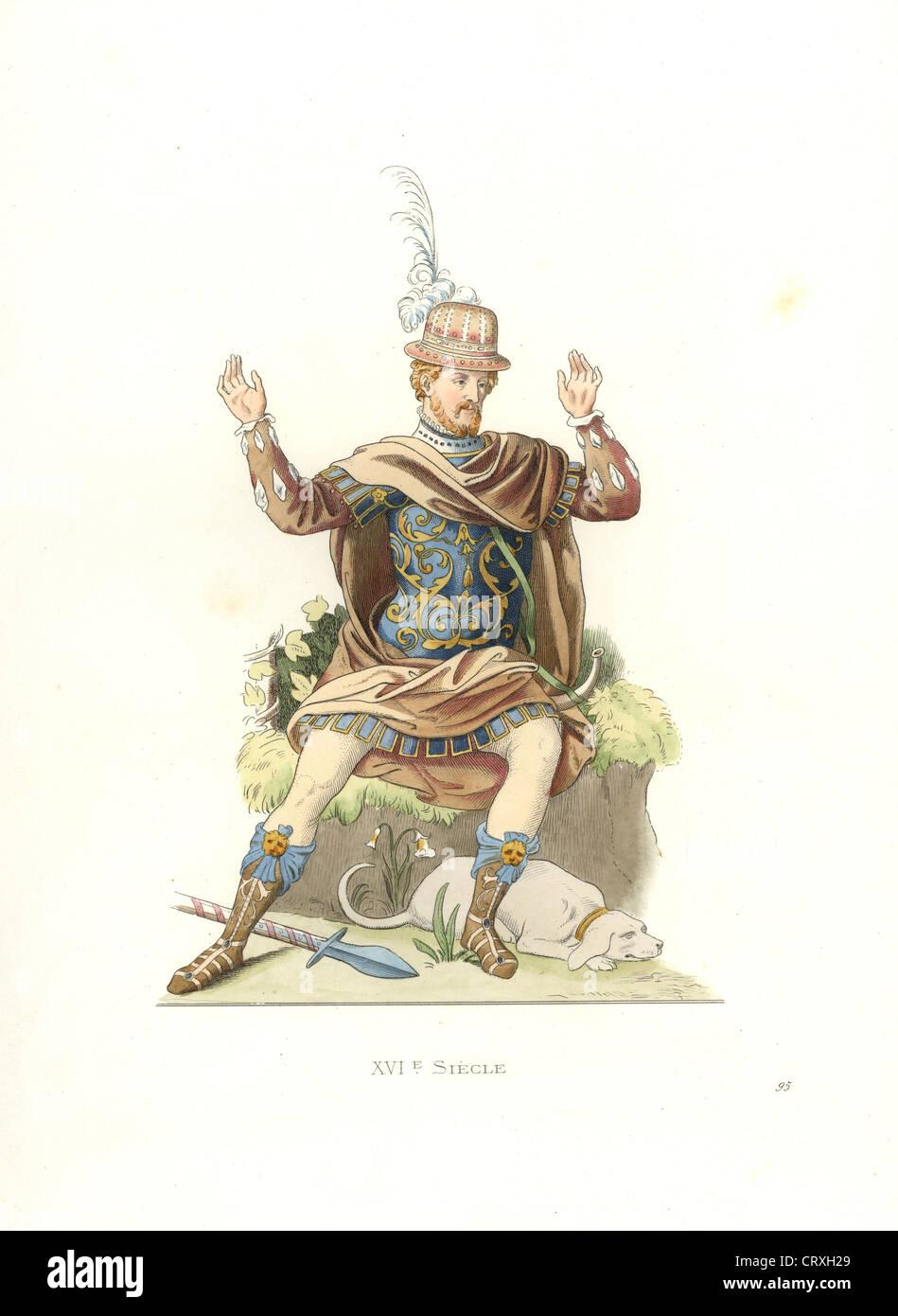 17 Jahrhundert Bild Architektur: Französischer Edelmann Im Antiken Kostüm, 17. Jahrhundert