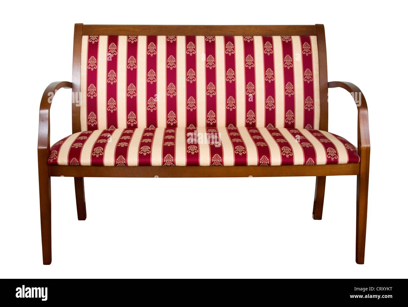Klassiker aus Holz gepolsterte Couch isoliert auf weiss Stockbild