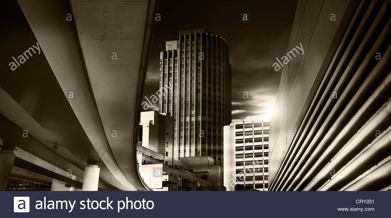 Stadt bei Nacht Stockbild