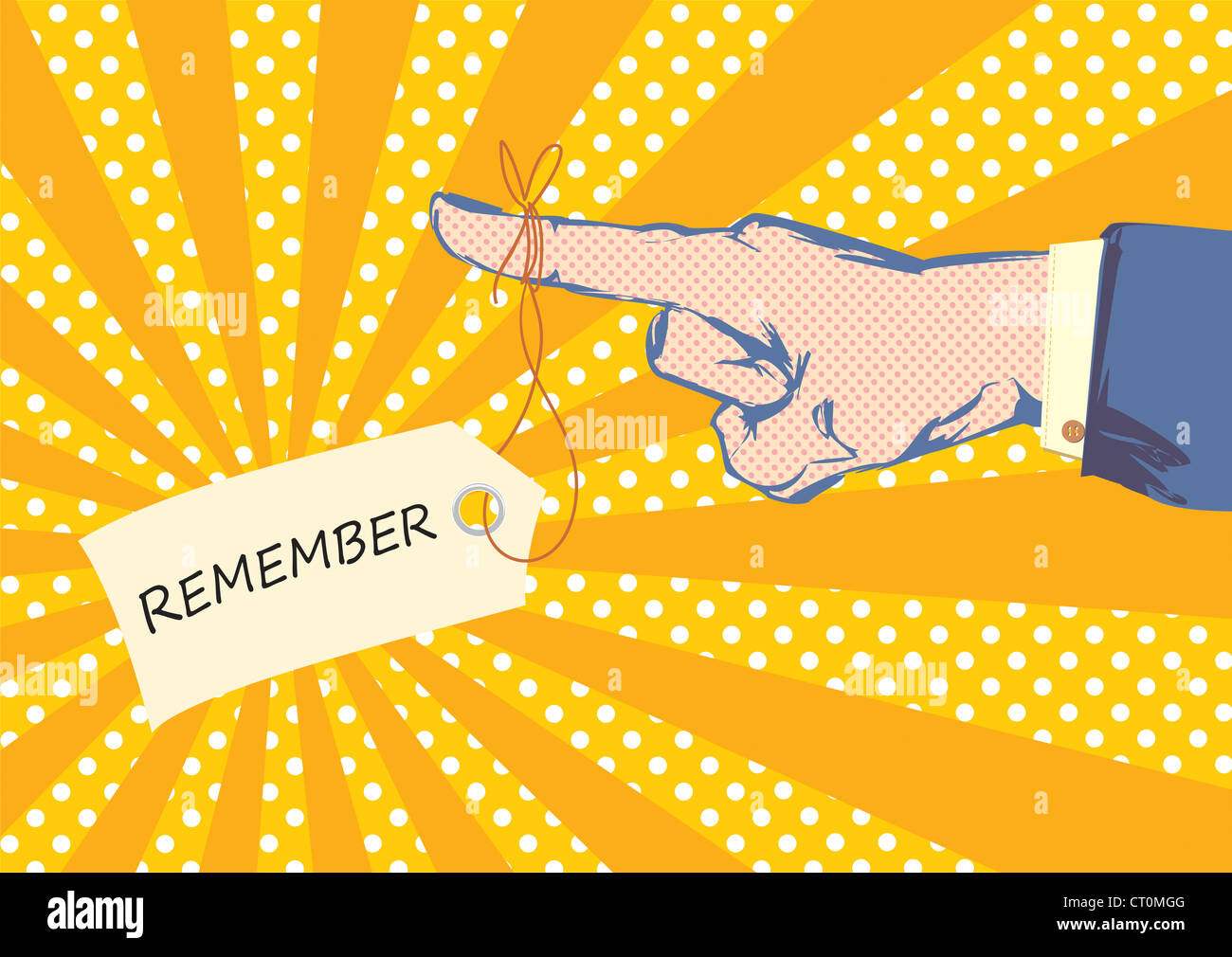 Skizzierte Hand und Fingerzeig mit Anzug Jacke und Hemd Ärmel im Pop-Art-Stil Stockbild