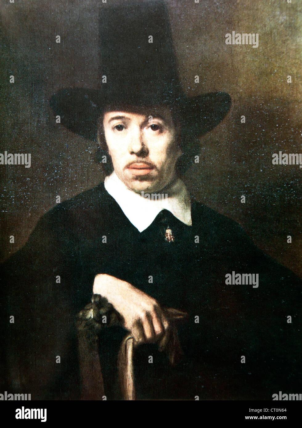 Porträt eines unbekannten Mannes ? zugeschrieben Nicolaes Maes Stockbild