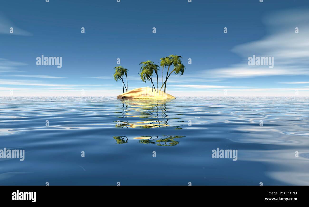 Robinson-Insel mit Palmen und Meer Stockbild