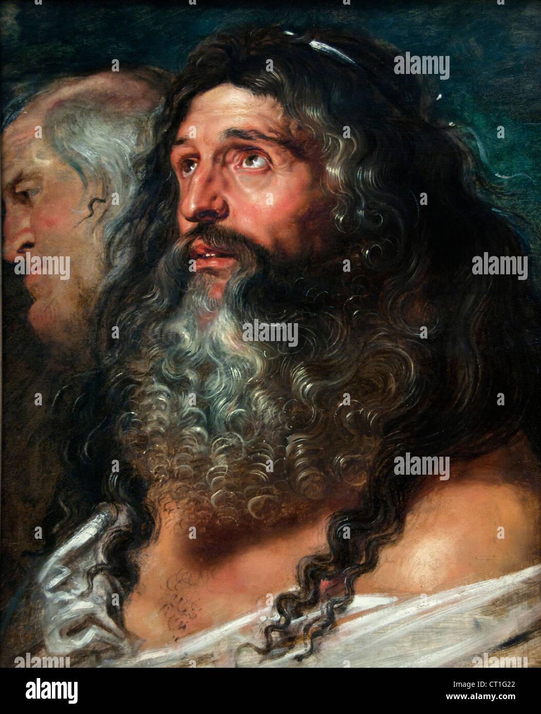 Studie von zwei Köpfen 1608 Rubens 1577-1640 flämischen Belgien Belgien Stockbild