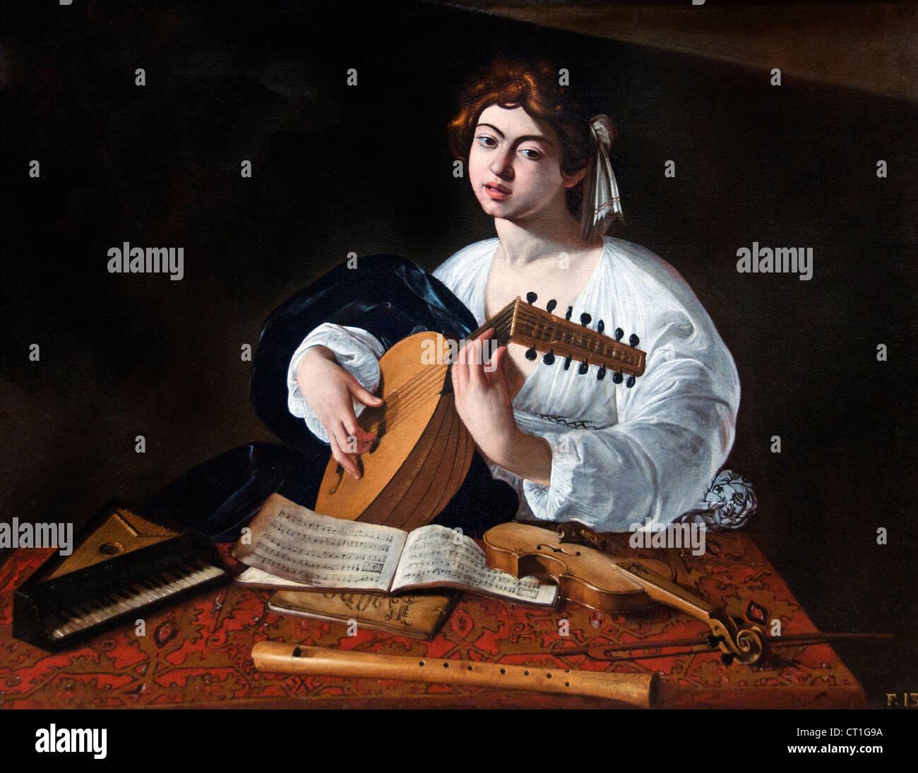 Die laute Player 1597 Caravaggio Michelangelo Merisi Italien Italienisch Stockbild