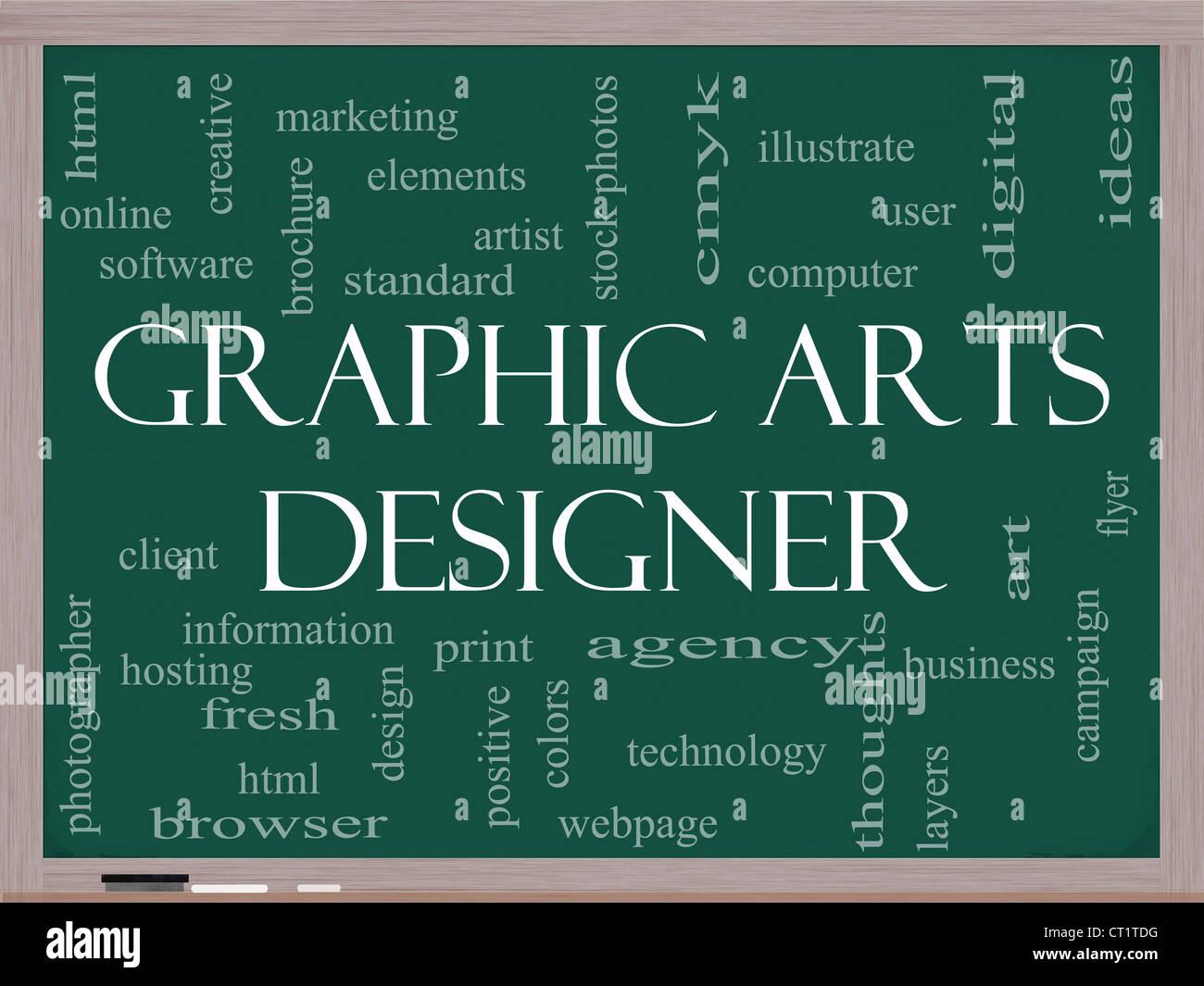 Grafik Designer Word Cloud-Konzept auf einer Tafel mit großen Begriffe wie Software, html, Client, Design und Stockbild