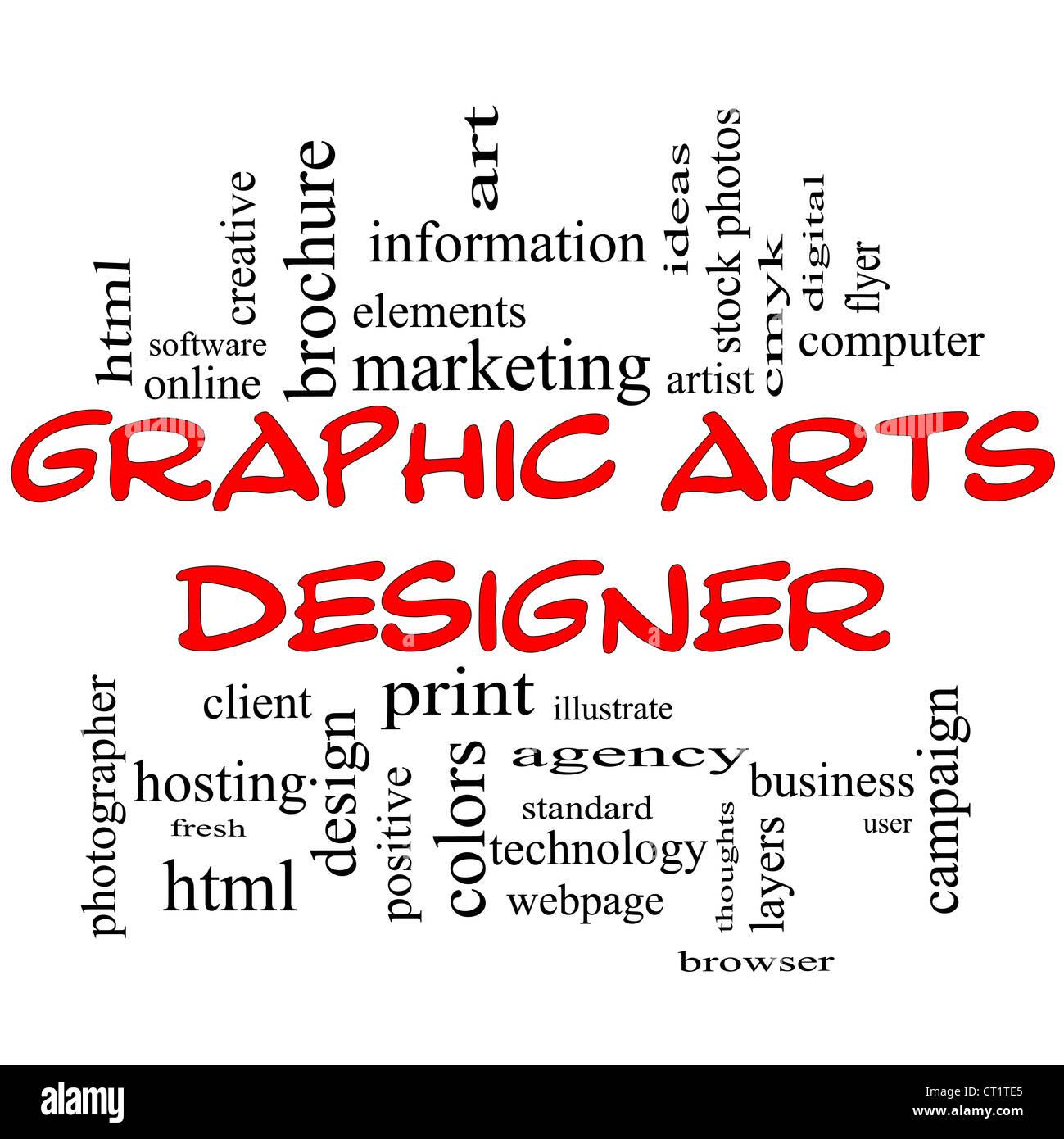Grafik Designer Word Cloud-Konzept in roten Großbuchstaben mit großen Begriffe wie Software, html, Client, Stockbild