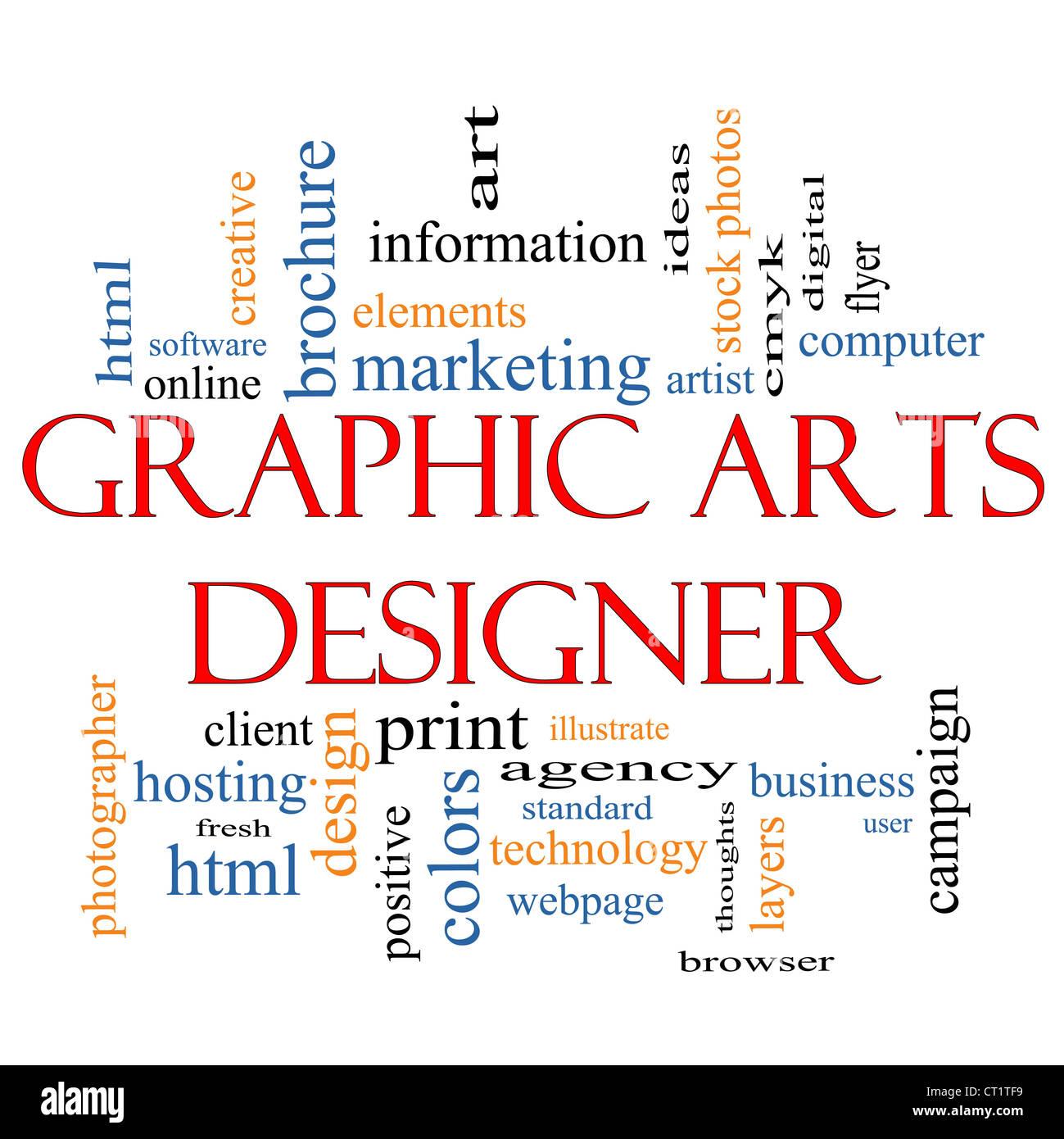 Grafik Designer Word Cloud-Konzept mit großen Begriffe wie html, Client, Software, Design, zu illustrieren Stockbild