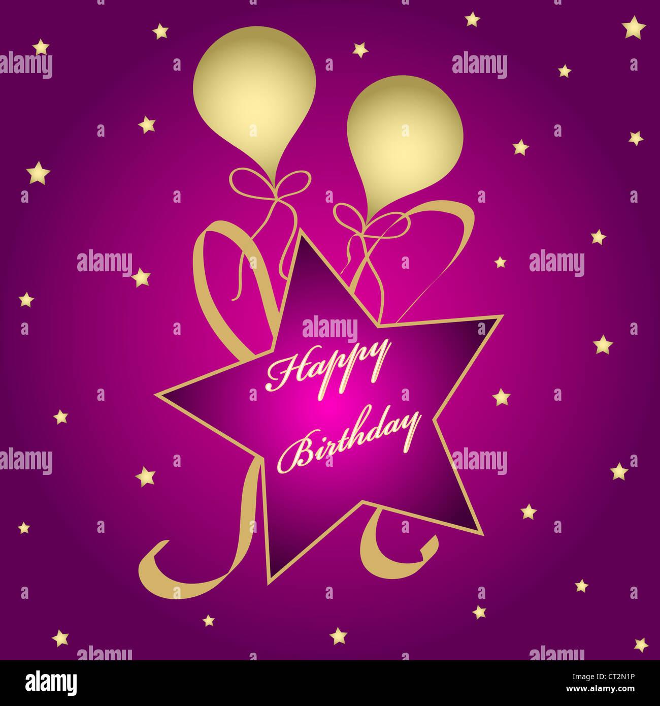 Stars Und Ballons Mit Happy Birthday Wunsche Stockbild