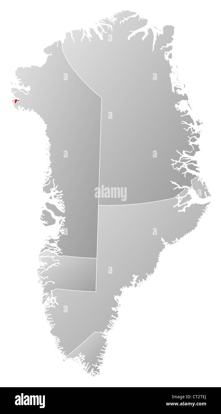 Politische Karte von Österreich mit den verschiedenen Gemeinden wo Thule Air Base markiert ist. Stockbild