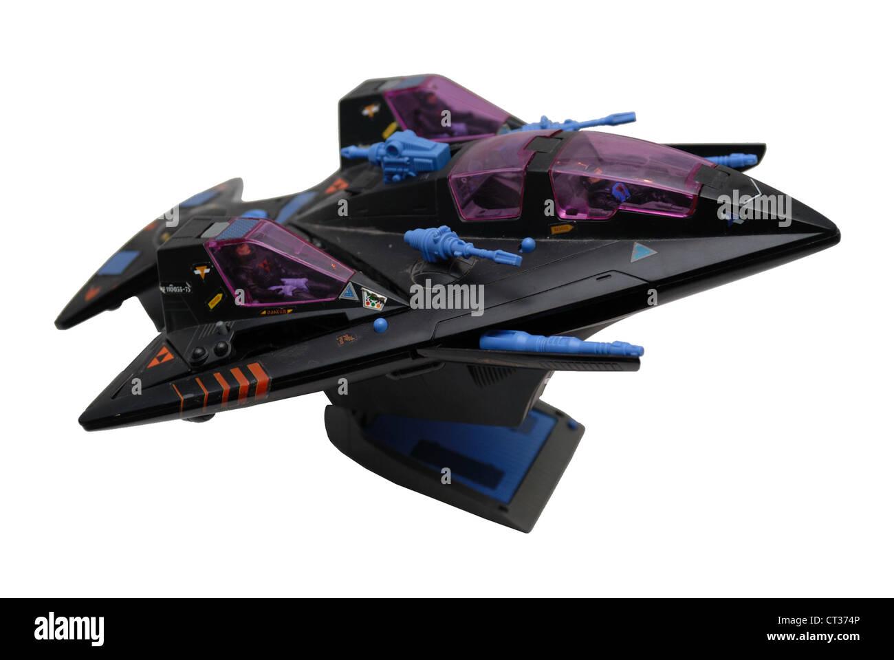 Starcom Vintage Raum Spielzeug, Flugzeug, Flugzeug oder Raumschiff mit Gewehren. Stockbild