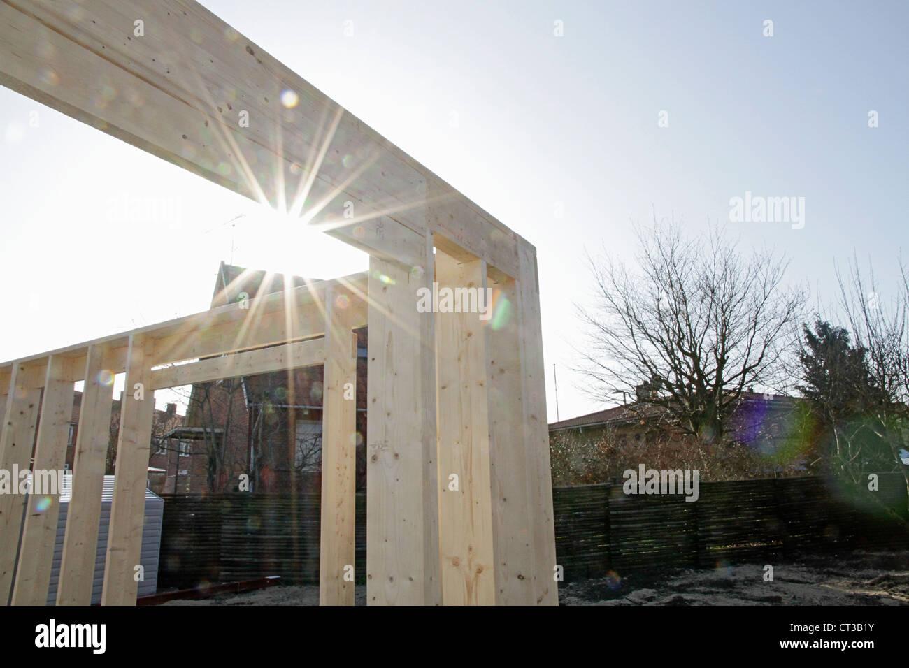 Sonne auf den neuen Aufbau vor Ort Stockbild