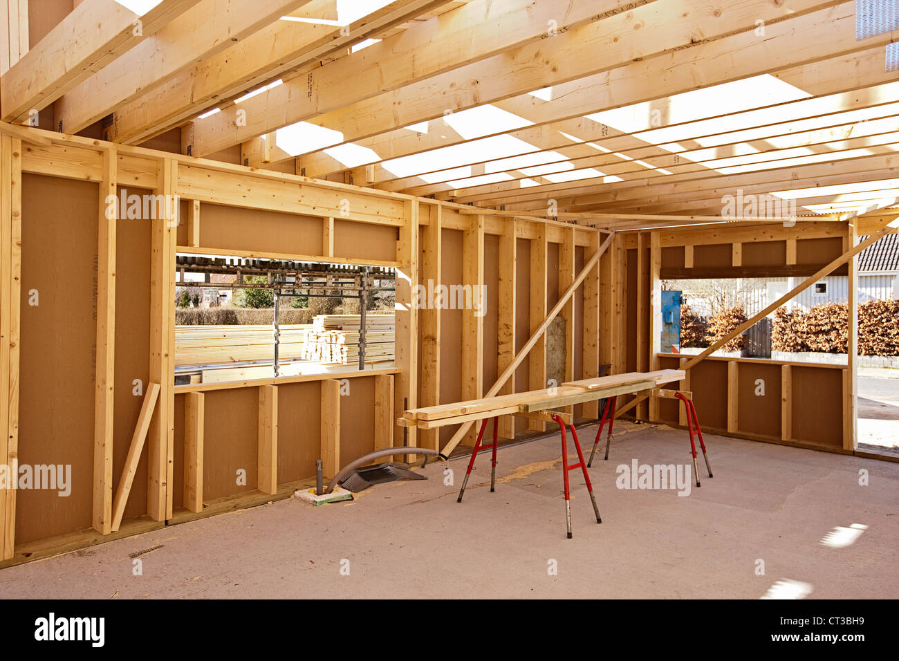 Building Wood Framing Under Construction Stockfotos & Building Wood ...