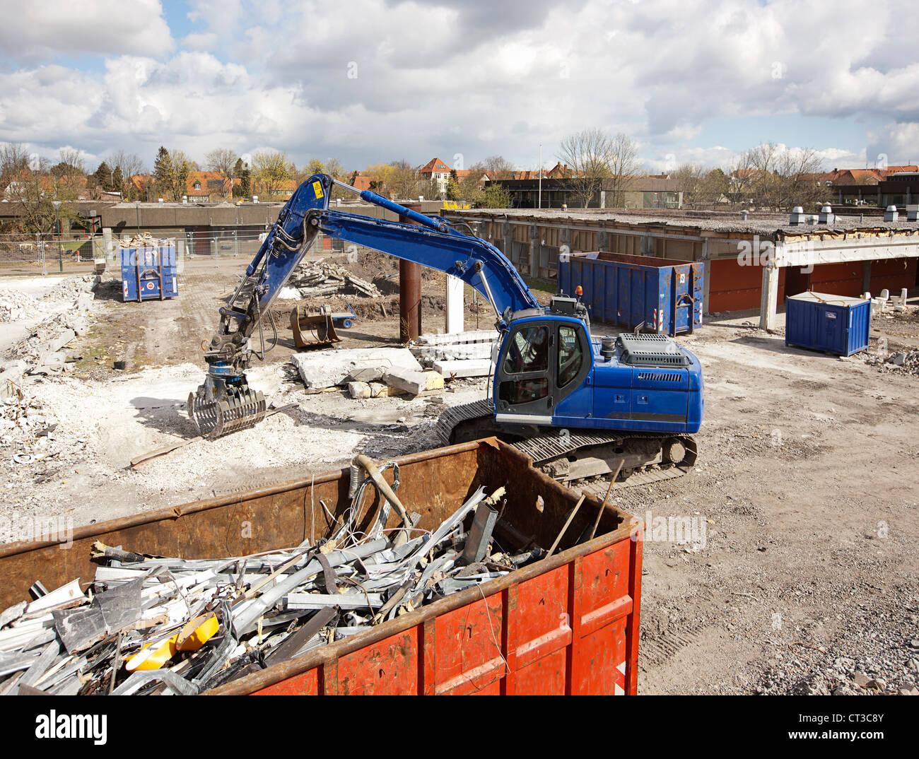 Bagger auf der Baustelle Stockbild