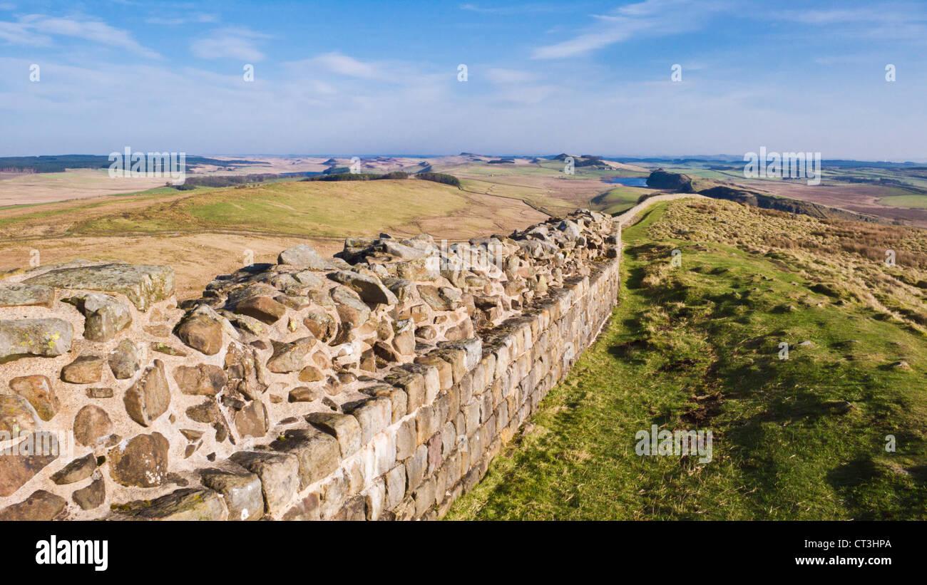 Hadrian Wand in der Nähe von Stahl Rigg einmal gebraut Northumberland England UK GB EU Europa Stockbild