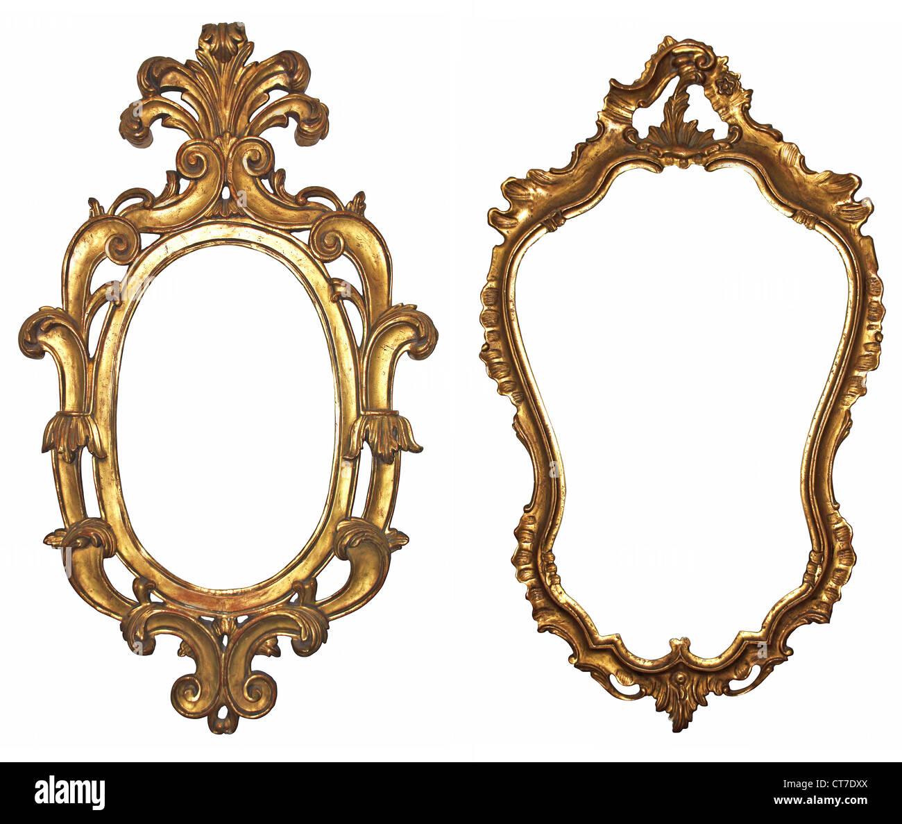 Alte vergoldete Holzrahmen für Spiegel Stockbild
