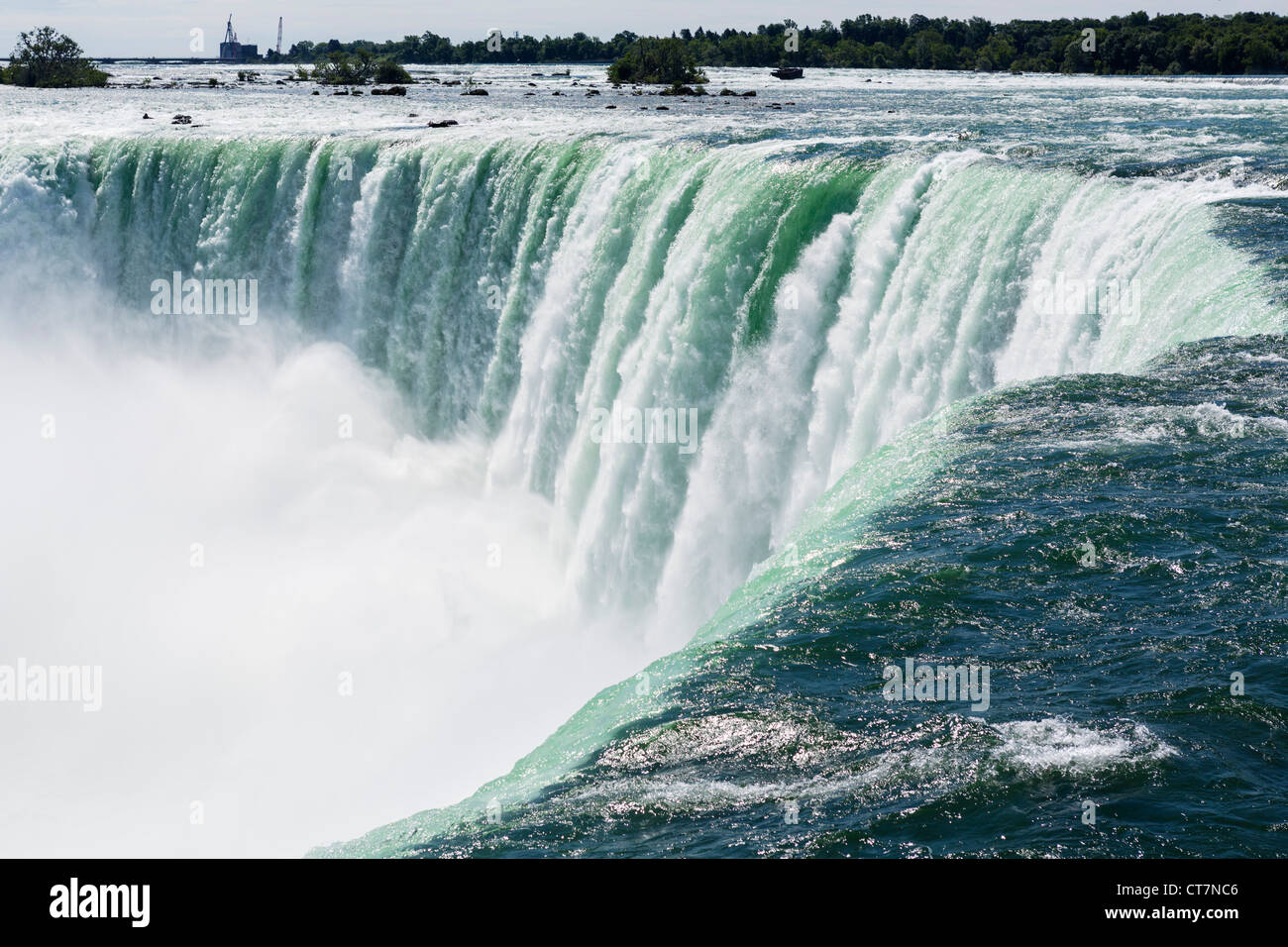 Nahaufnahme der Hufeisenfälle von der kanadischen Seite, Niagara Falls, Ontario, Kanada Stockbild