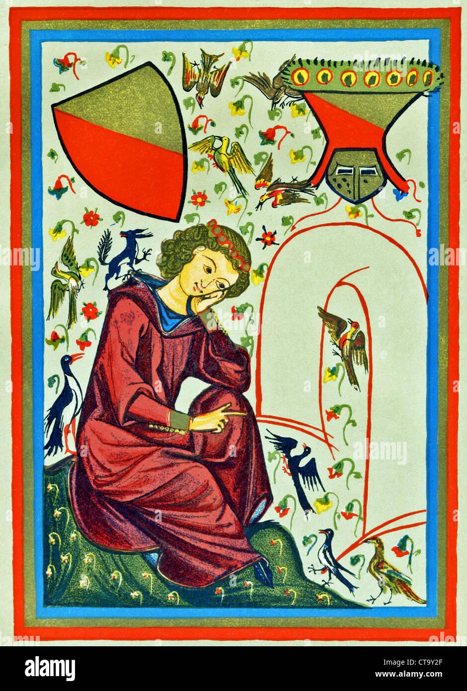 Diese Illustration von Heinrich von Weldeke ist aus einem Buch von 1910 und erfolgt im Stil des Schreibens Heidleberg Stockbild