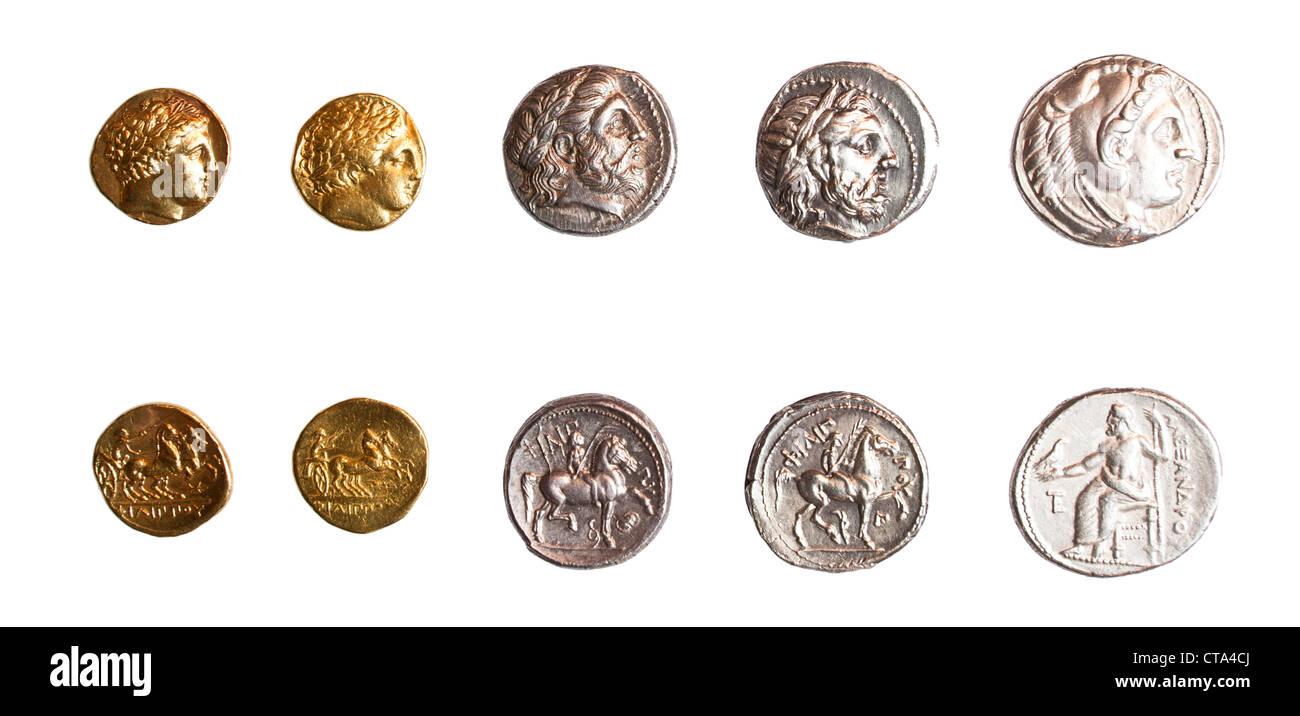 Antike Griechische Münzen 3 Jahrhundert Bce Stockfoto Bild