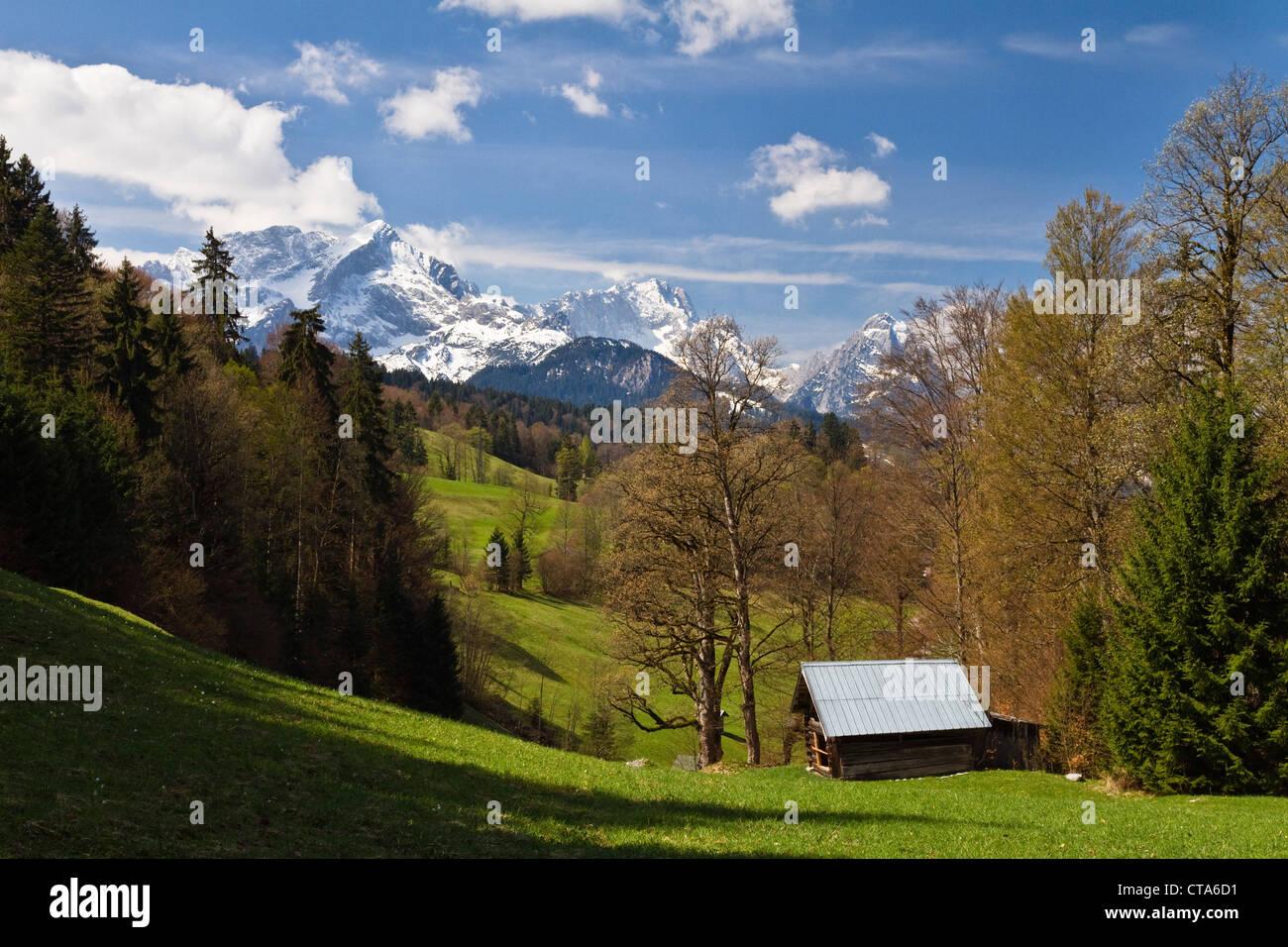 Blick Richtung Berg Wettersteingebirge mit Alpspitze, Zugspitze und Waxenstein, Wamberg, Werdenfelser Land, Oberbayern, Stockbild