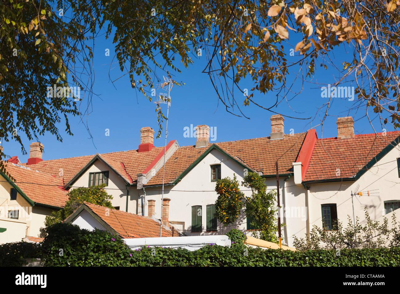 Englischen Stil Häuser in Barrio Ingles Bella Vista auf Minas de Rio Tinto, Provinz Huelva, Andalusien, Südspanien. Stockbild