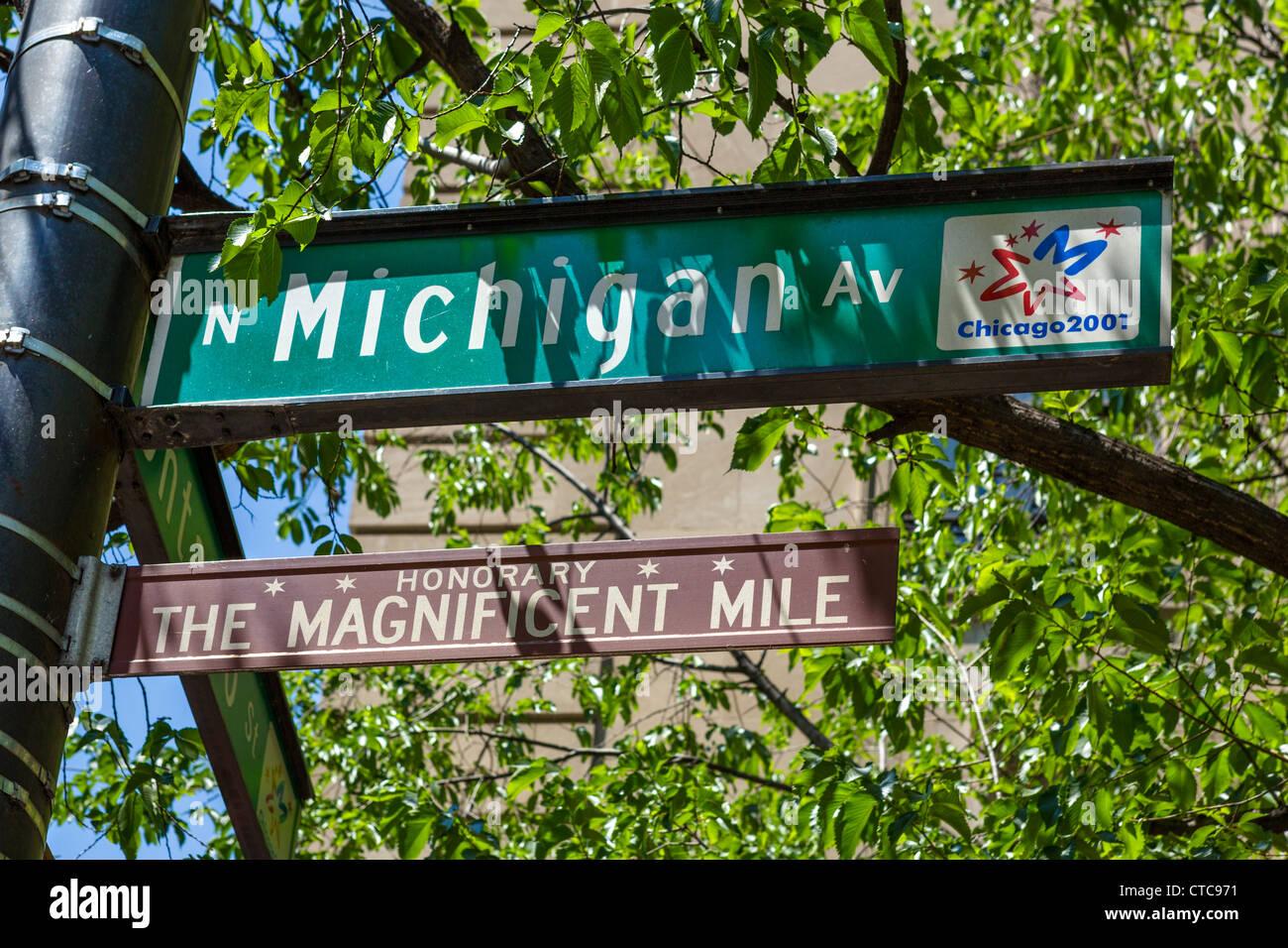 Magnificent Mile Straßenschild, Michigan Avenue, Chicago, Illinois, USA Stockbild