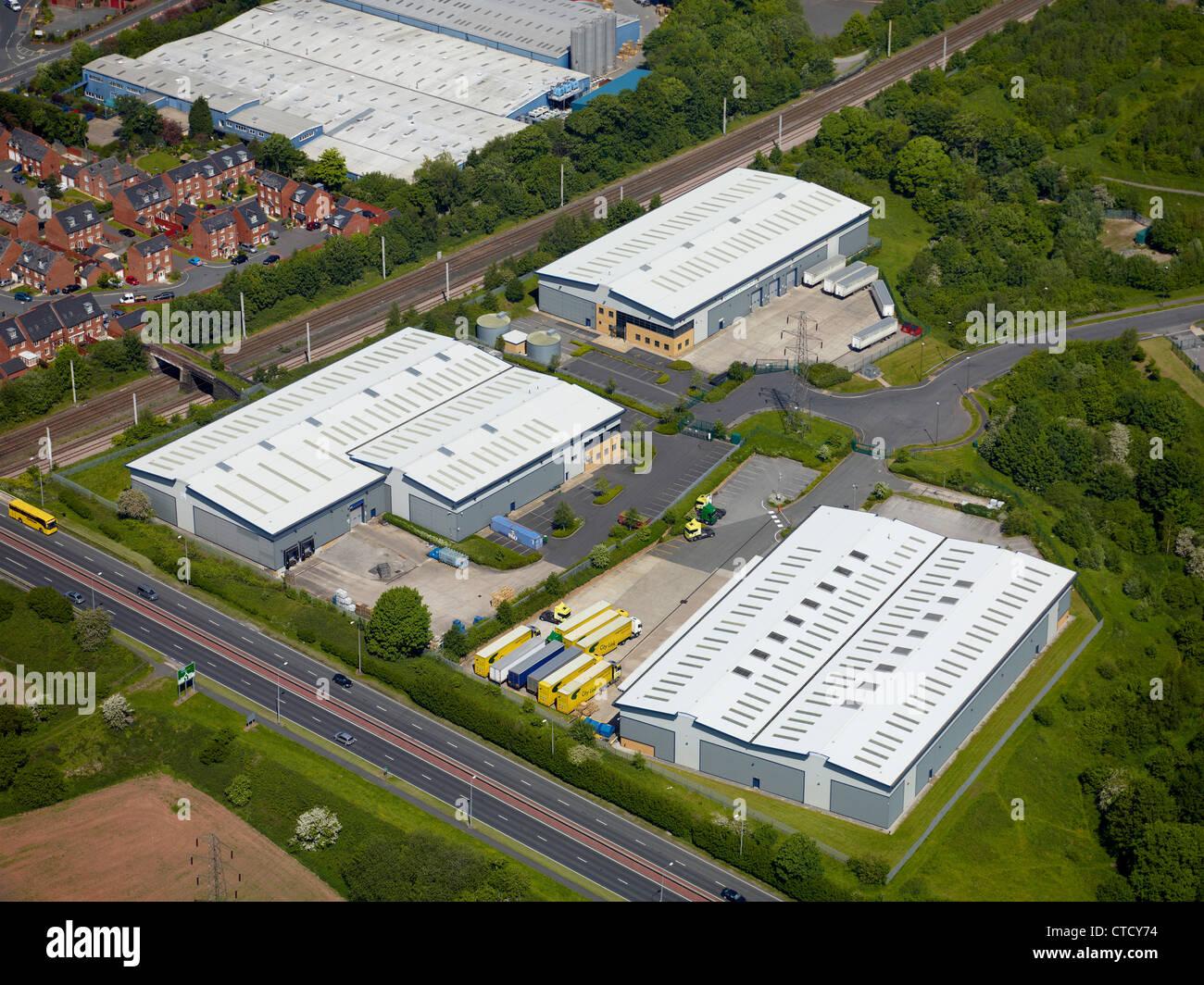 Kleines Industriegebiet, Warrington, North West England Stockbild