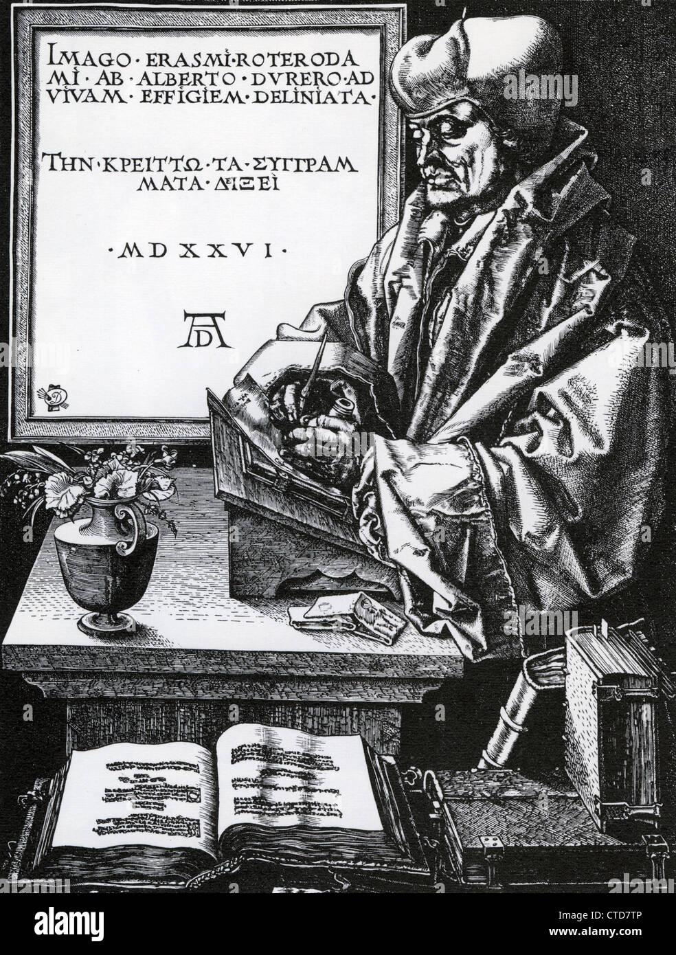 DESIDERIUS ERASMUS (c 1466-1536) niederländischen Renaissance Humanisten in einem Holzschnitt von Albrecht Stockbild