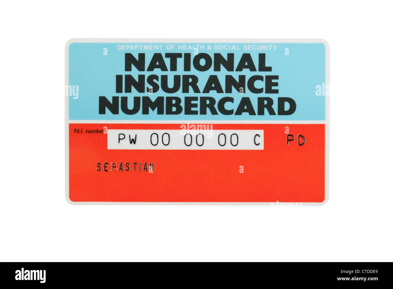 Karte der National Insurance Number Stockbild