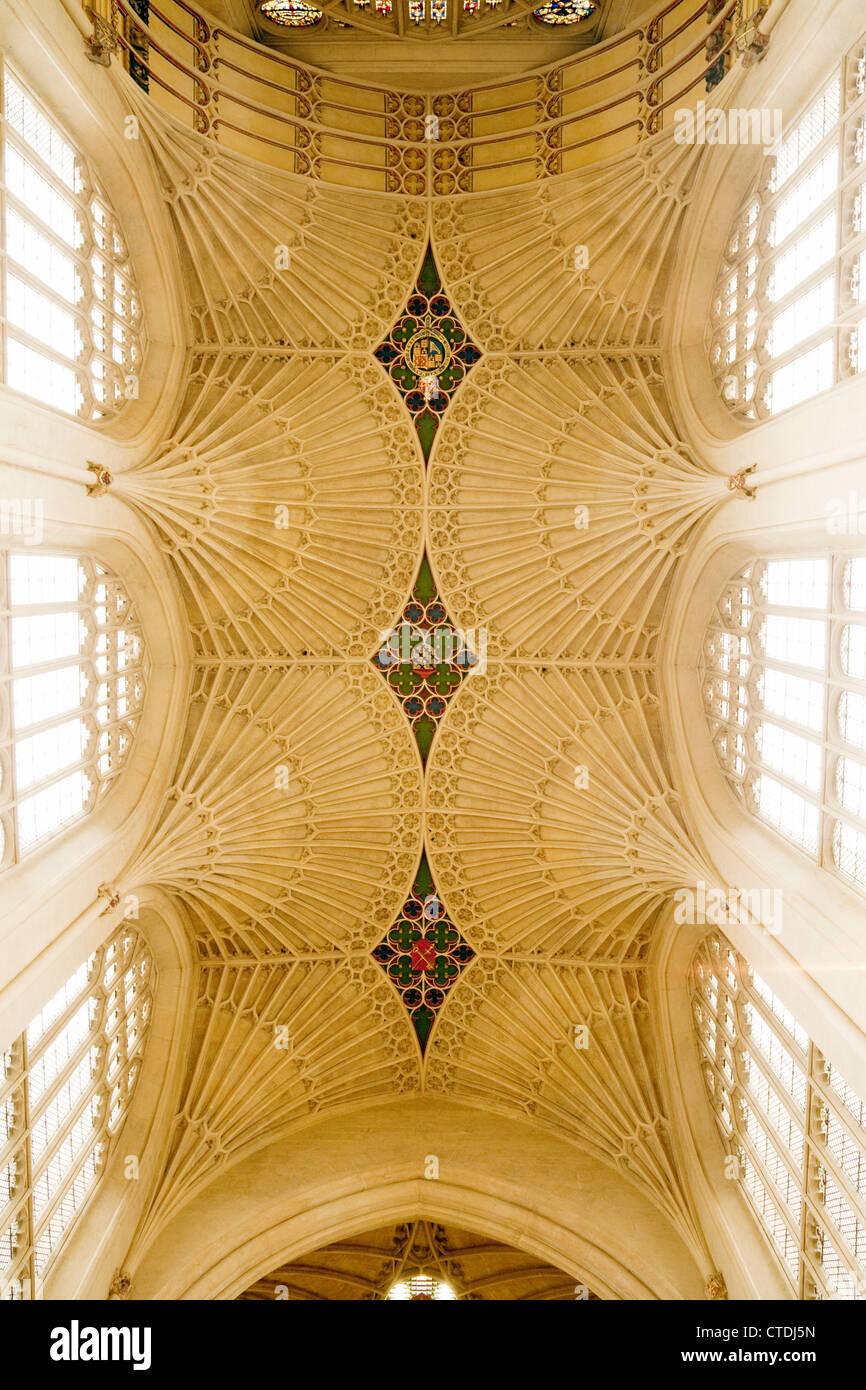 Anfang des 16. Jahrhunderts Ventilator Decke, Abteikirche von Bath, Somerset, Großbritannien Stockbild