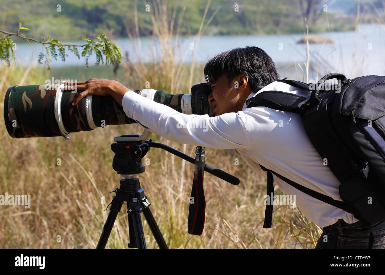 Junge Naturfotograf Stockbild