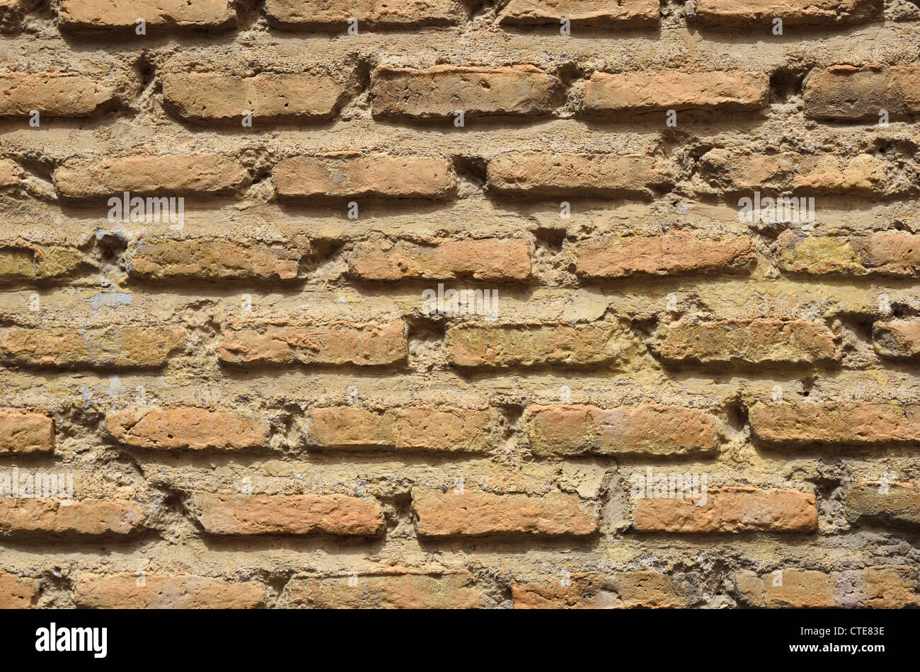 Nahaufnahme der alten gemauerten Wand Stockbild