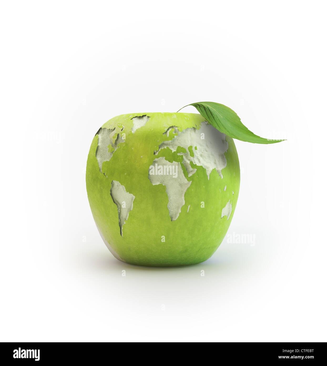 Geschälten Apfel bildet die Weltkarte Stockfoto