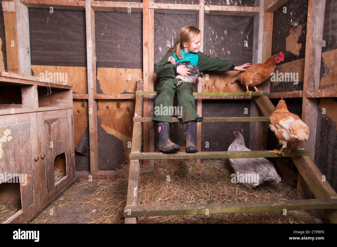 Junges Mädchen mit Hühnern in ein Huhn-Hütte auf einem Lifestyle-Block nur drausen Raglan, Neuseeland Stockbild