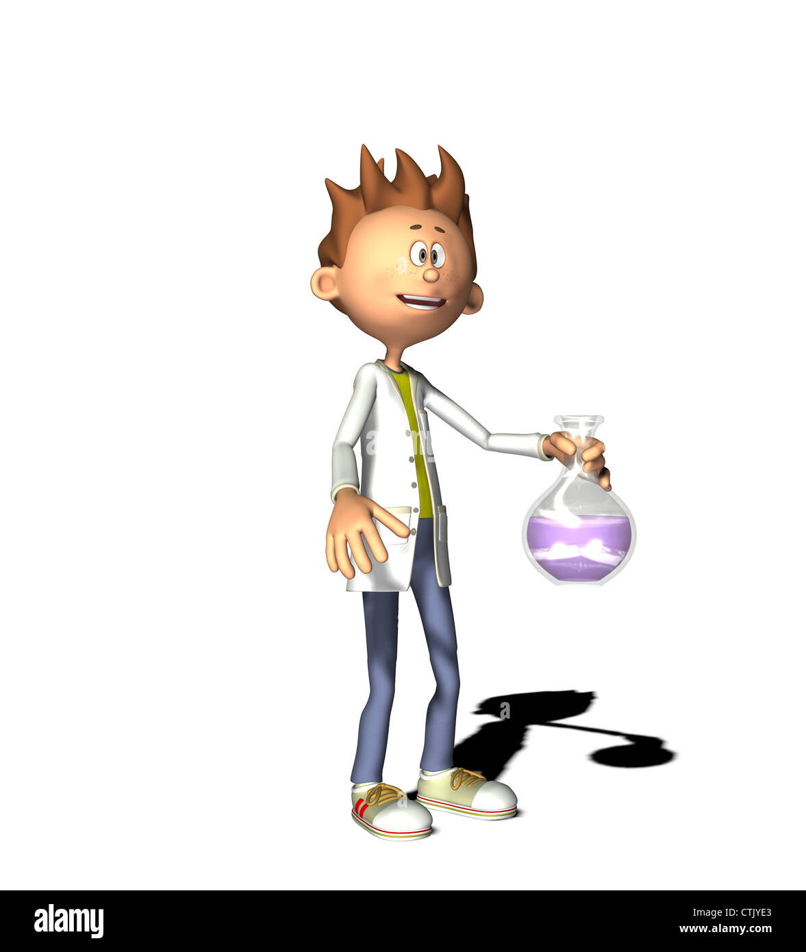 Cartoon-Figur-ChemikerStockfoto