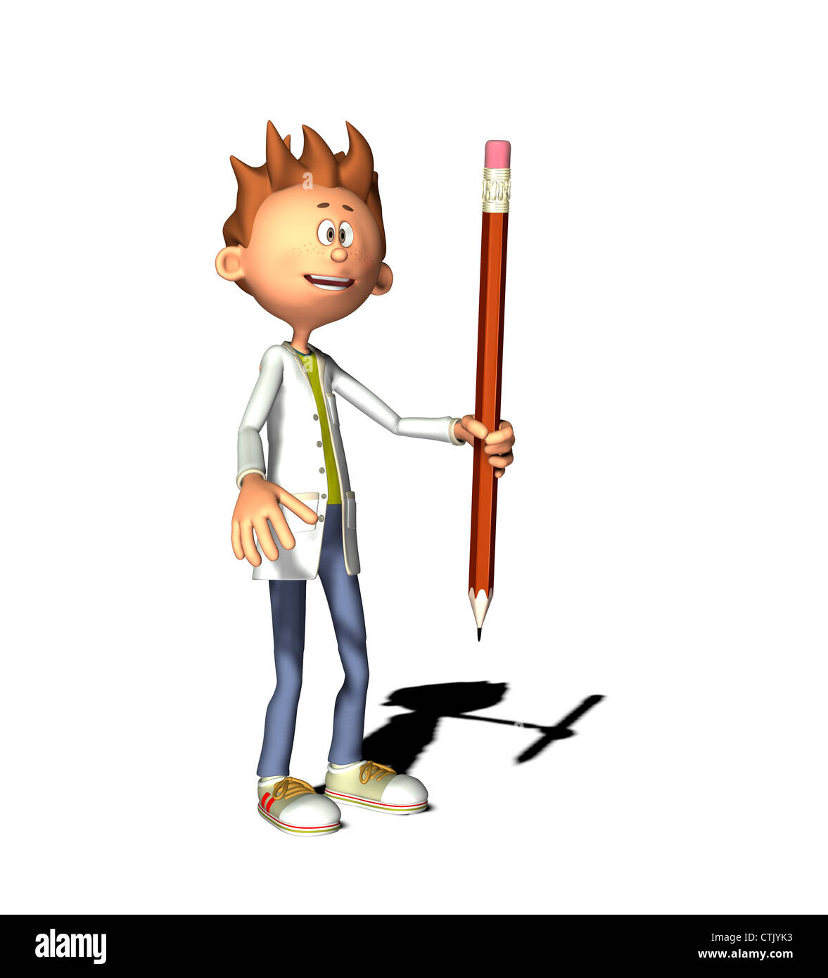 Cartoon-Figur mit Kittel und Stift Stockbild