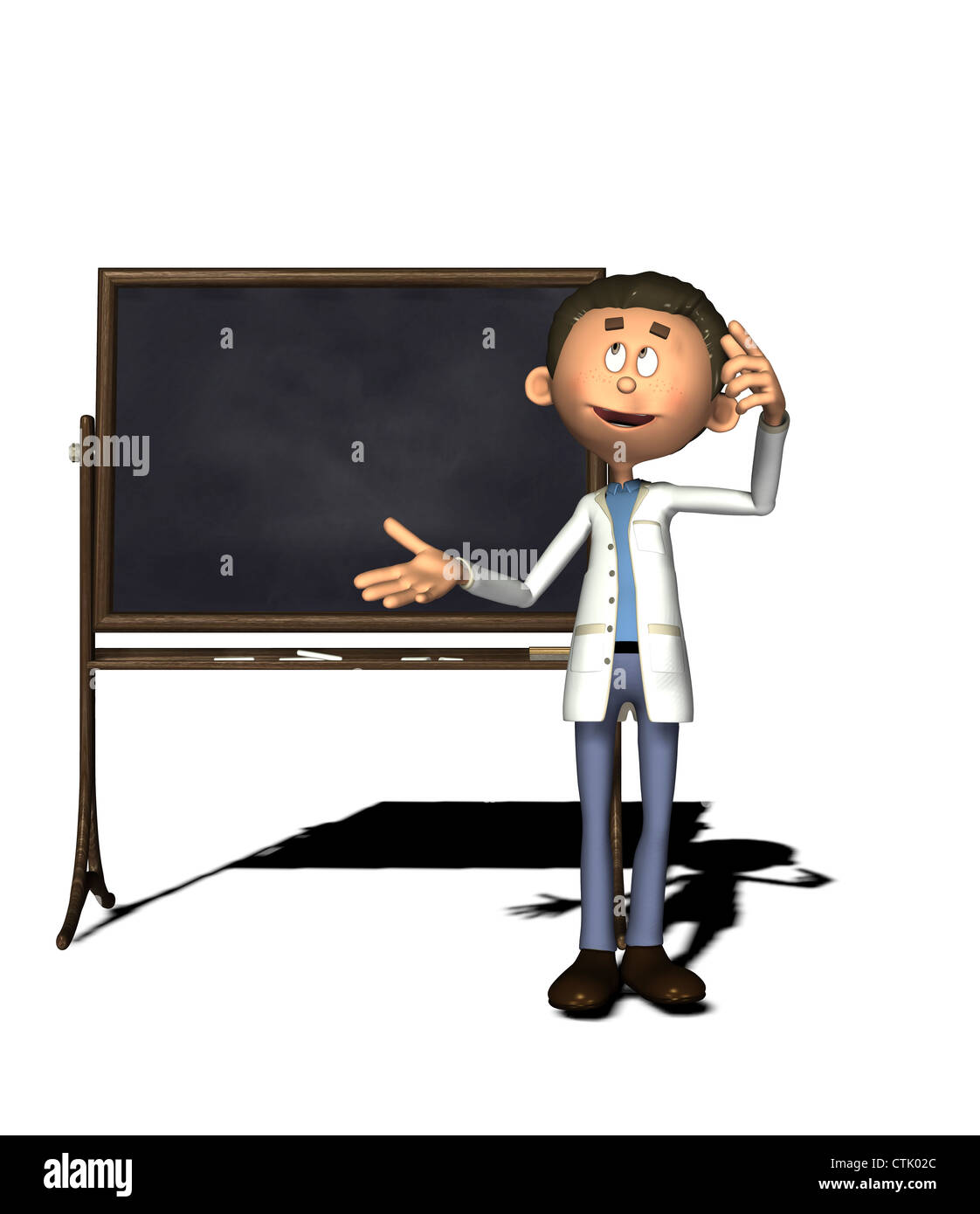 Cartoon-Figur-Chemiker mit board Stockfoto